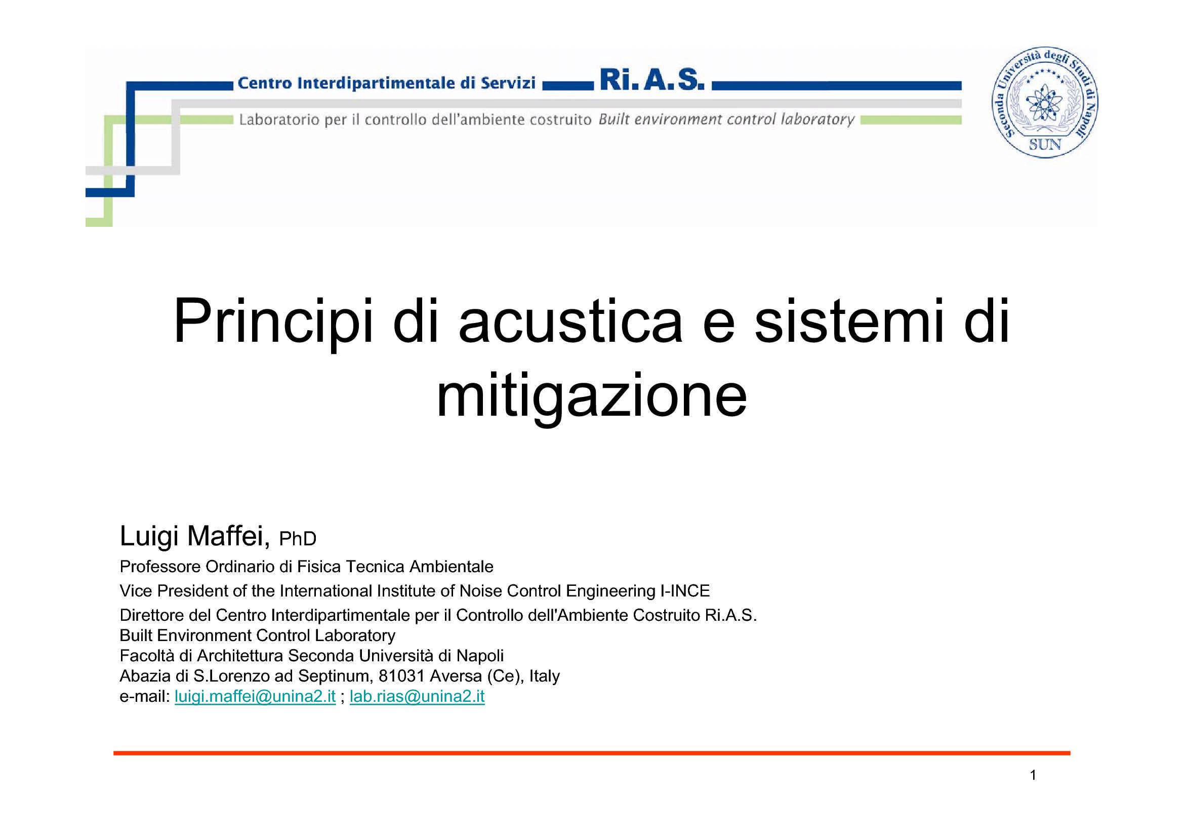 dispensa L. Maffei Acustica applicata - Illuminotecnica