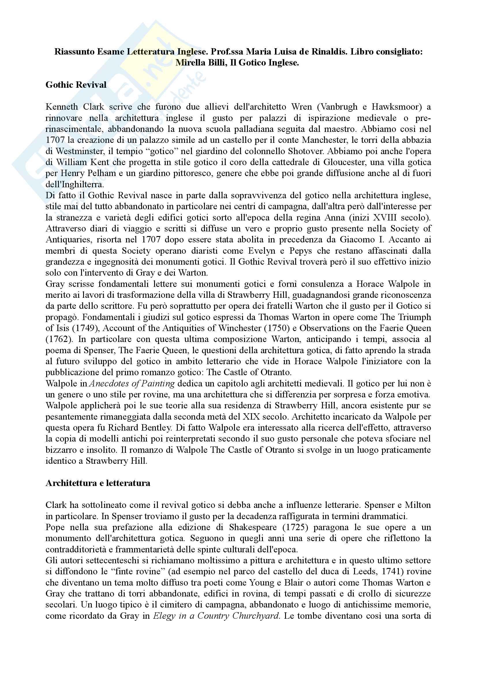 Riassunto Esame Letteratura Inglese. Prof.ssa Maria Luisa de Rinaldis. Libro consigliato: Mirella Billi, Il Gotico Inglese