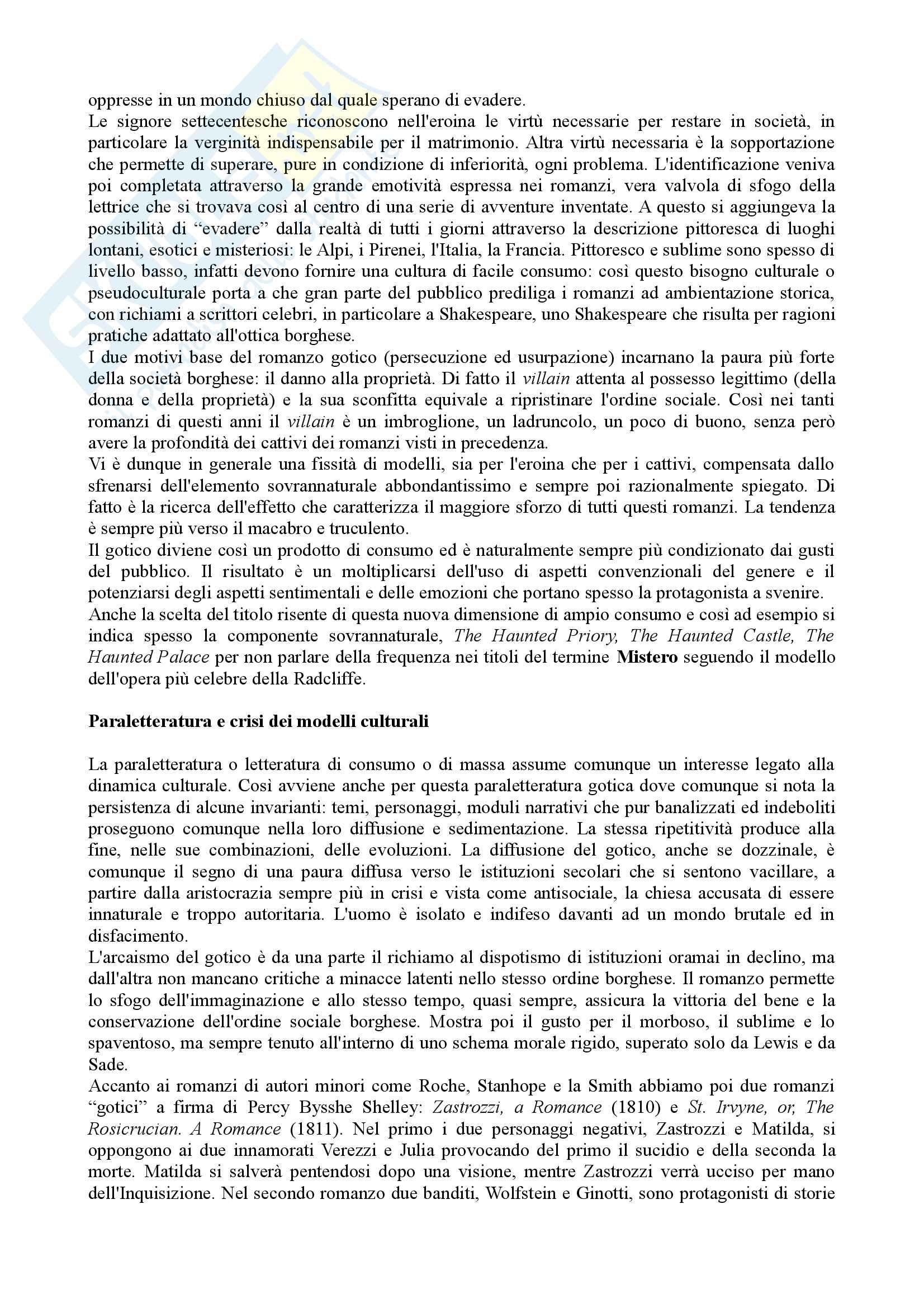 Riassunto Esame Letteratura Inglese. Prof.ssa Maria Luisa de Rinaldis. Libro consigliato: Mirella Billi, Il Gotico Inglese Pag. 11