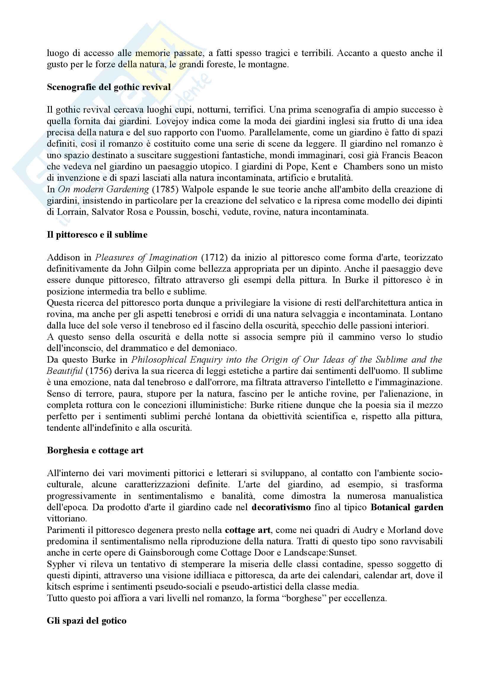 Riassunto Esame Letteratura Inglese. Prof.ssa Maria Luisa de Rinaldis. Libro consigliato: Mirella Billi, Il Gotico Inglese Pag. 2