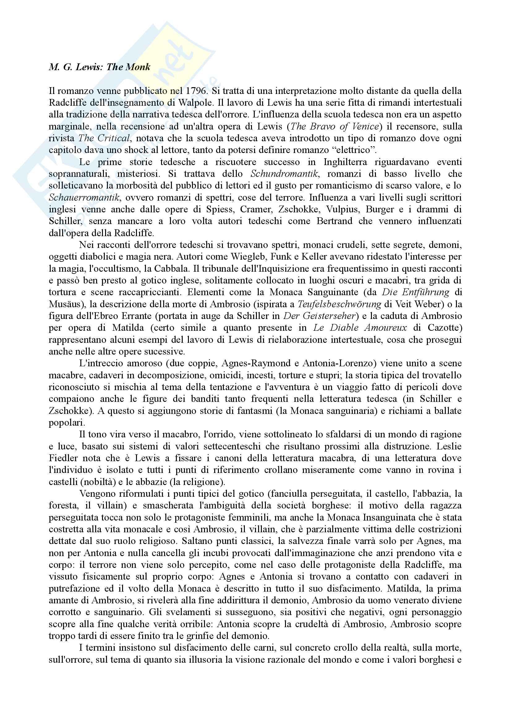Riassunto Esame Letteratura Inglese. Prof.ssa Maria Luisa de Rinaldis. Libro consigliato: Mirella Billi, Il Gotico Inglese Pag. 26