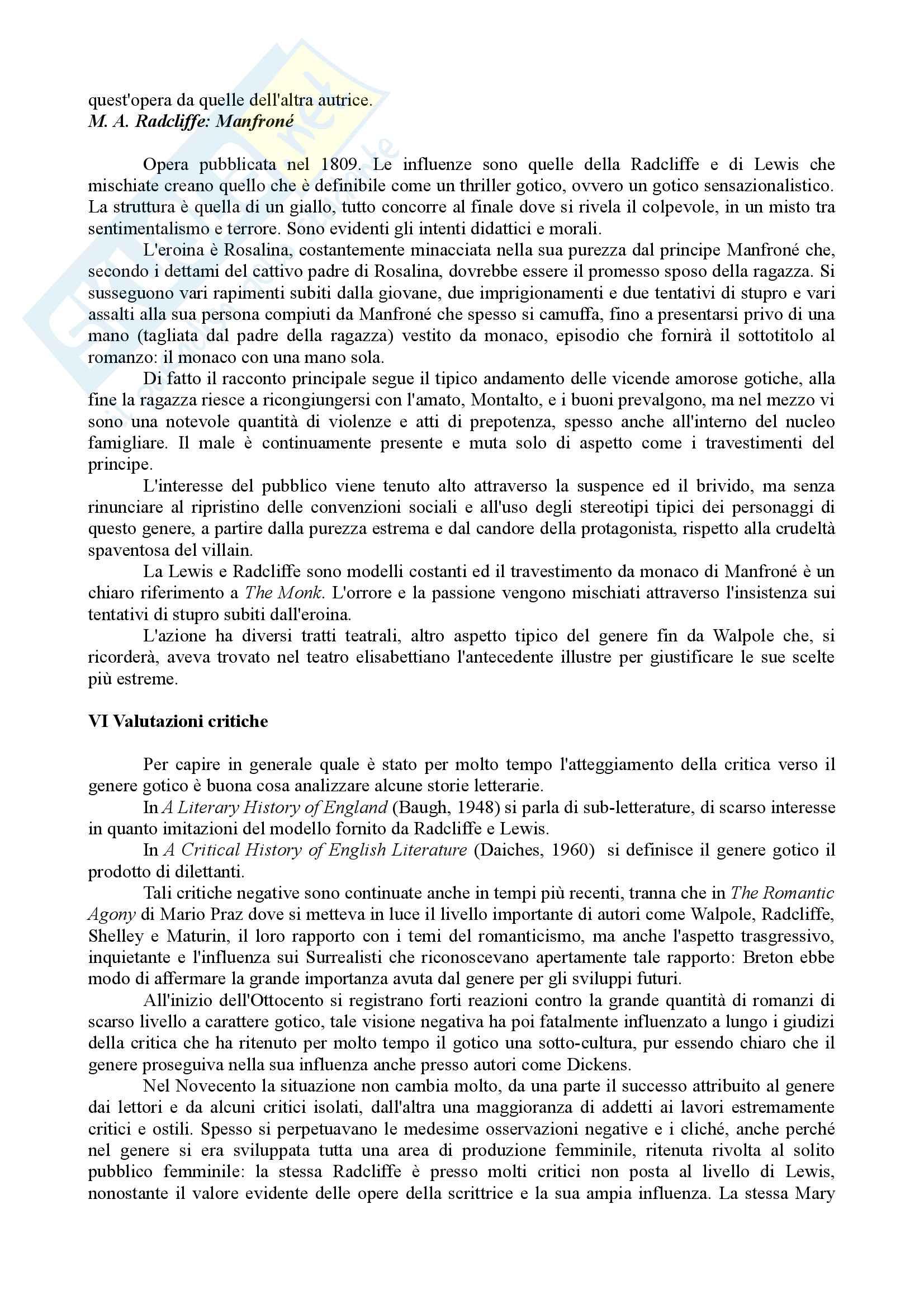 Riassunto Esame Letteratura Inglese. Prof.ssa Maria Luisa de Rinaldis. Libro consigliato: Mirella Billi, Il Gotico Inglese Pag. 31
