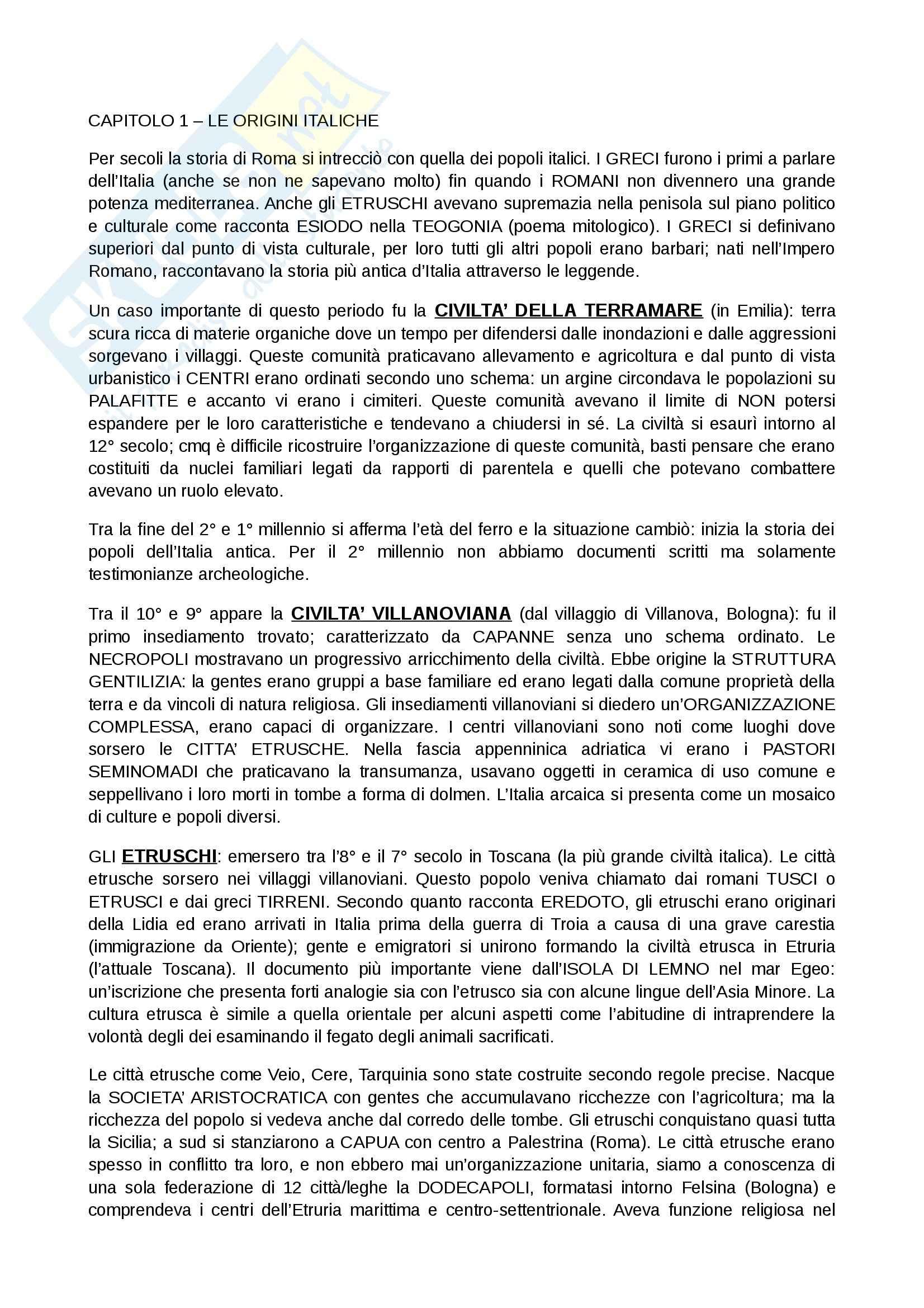 Riassunto esame Storia romana, prof. Franchina, libro consigliato Guida alla Storia Romana, Clemente