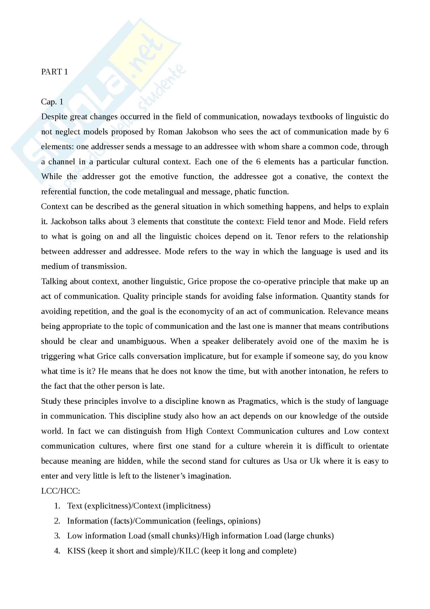 Riassunto esame Inglese, prof. Spinzi, libro consigliato English, Language and Communication, Spinzi