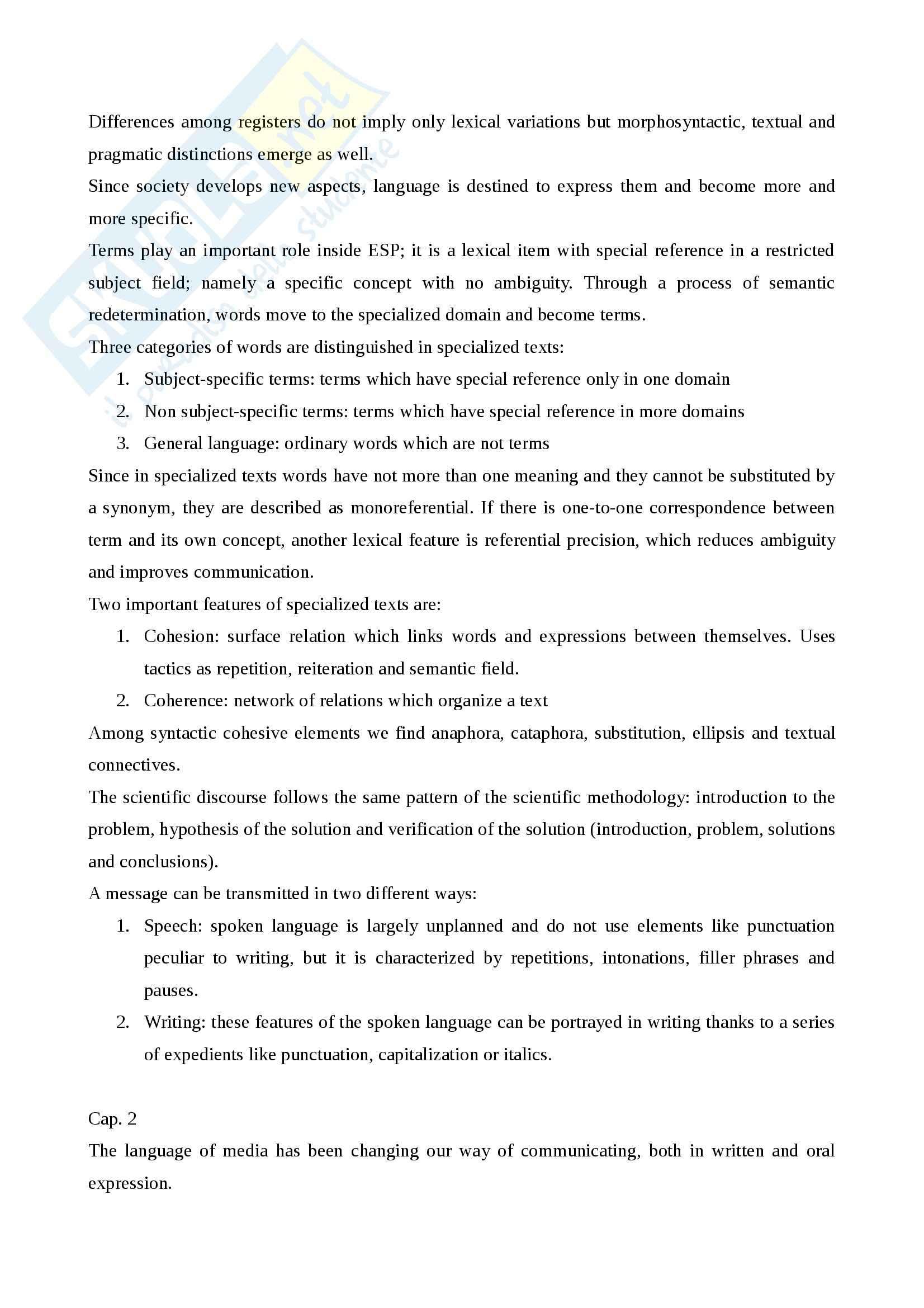 Riassunto esame Inglese, prof. Spinzi, libro consigliato English, Language and Communication, Spinzi Pag. 6