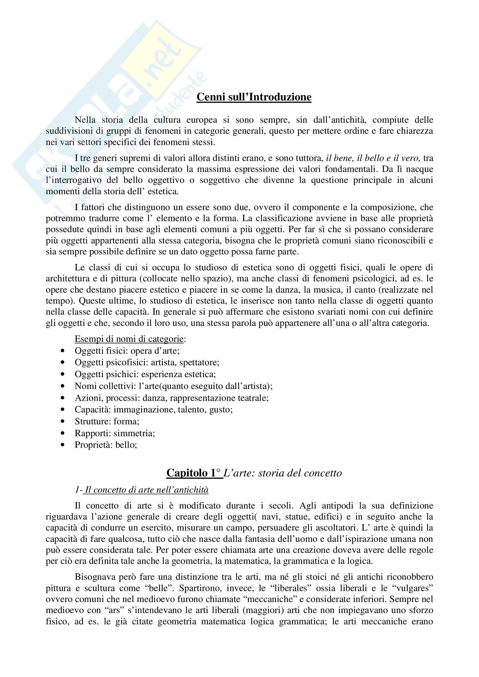 Riassunto esame Estetica, prof. Montani, libro consigliato Estetica, Tatarkiewicz