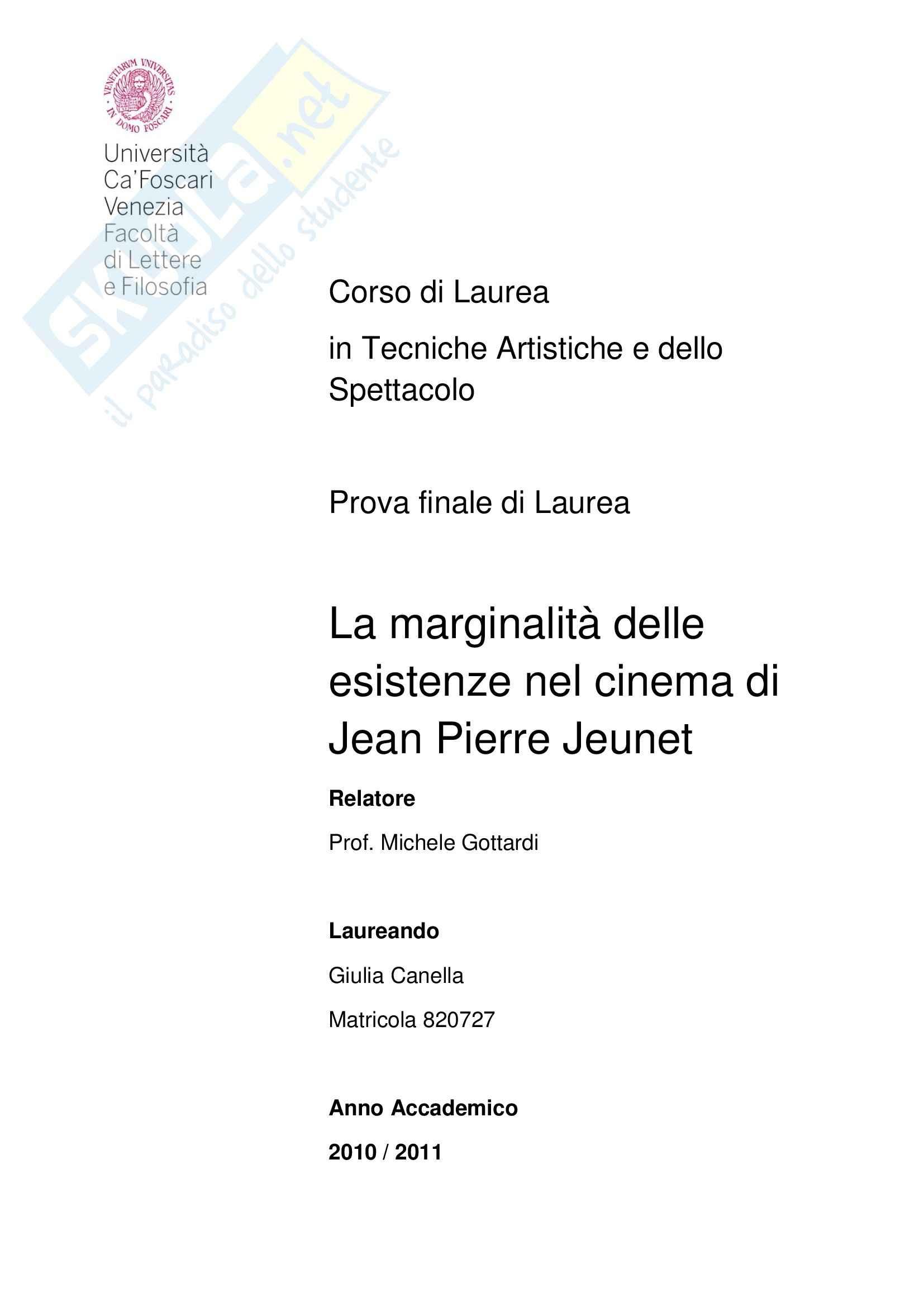 La marginalità delle esistenze nel cinema di Jean Pierre Jeunet, tesi
