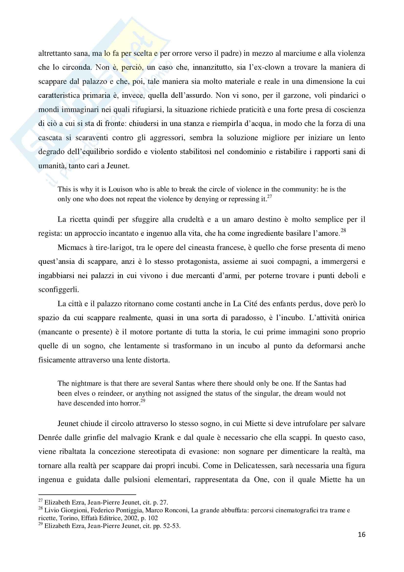 La marginalità delle esistenze nel cinema di Jean Pierre Jeunet, tesi Pag. 16