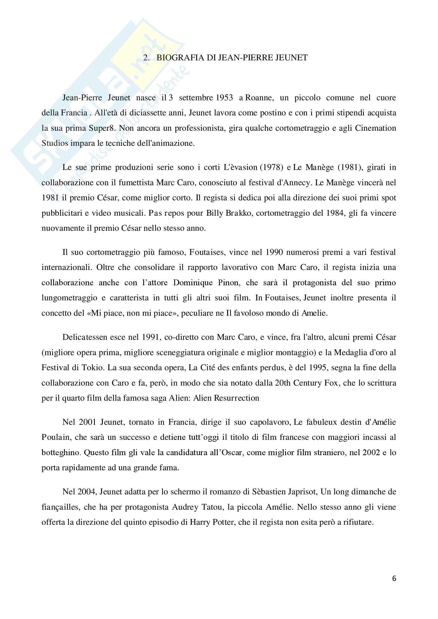 La marginalità delle esistenze nel cinema di Jean Pierre Jeunet, tesi Pag. 6