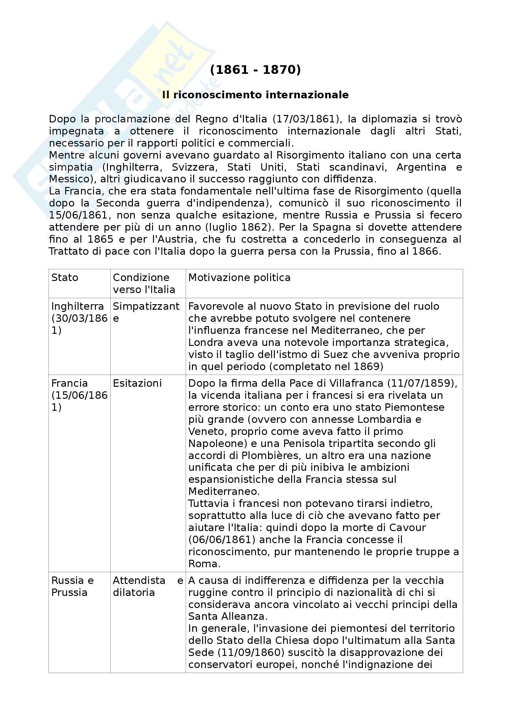 Riassunto esame Storia contemporanea, prof. Punzo, libro consigliato La politica estera dell'Italia, Mammarella, Cacace