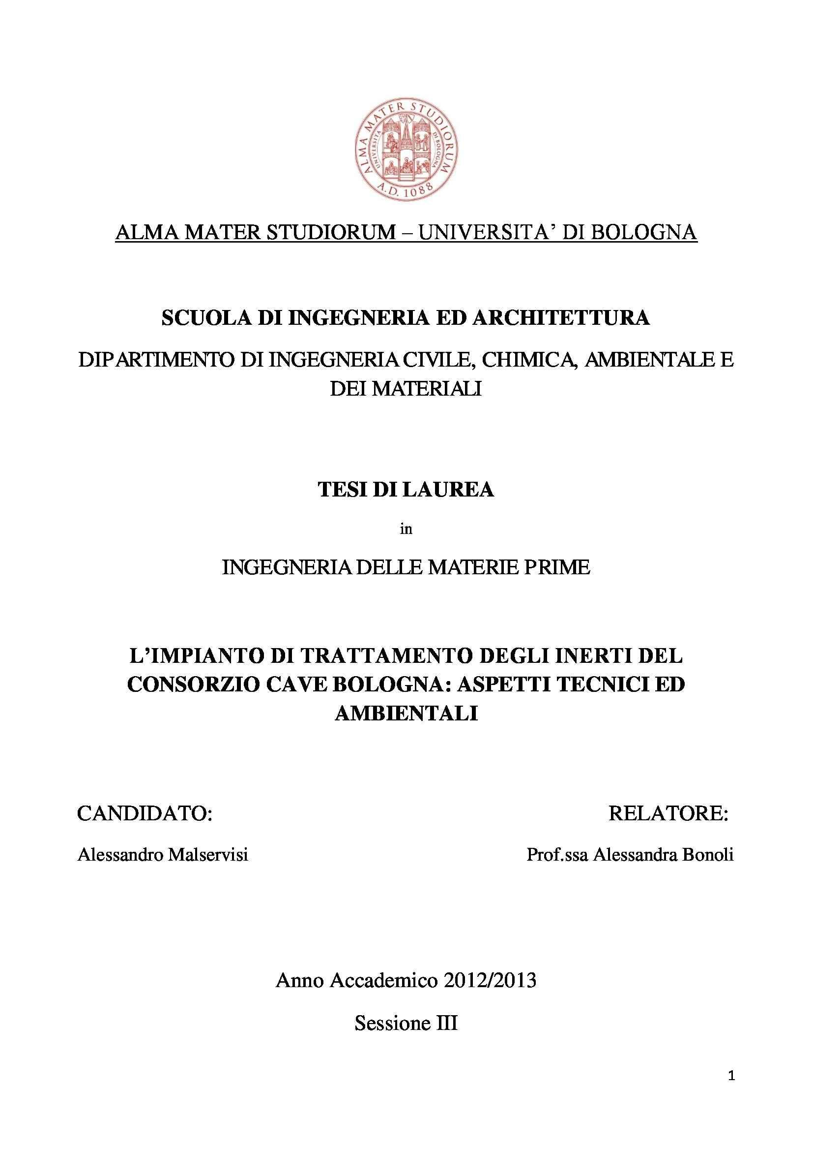Tesi triennale - L'impianto di trattamento degli inerti del consorzio Cave Bologna: aspetti tecnici e ambientali