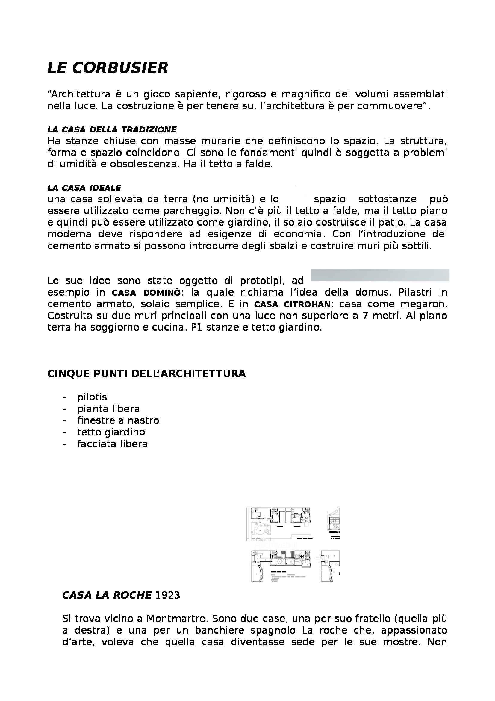 Caratteri distributivi degli edifici - Le Corbusier e i suoi progetti