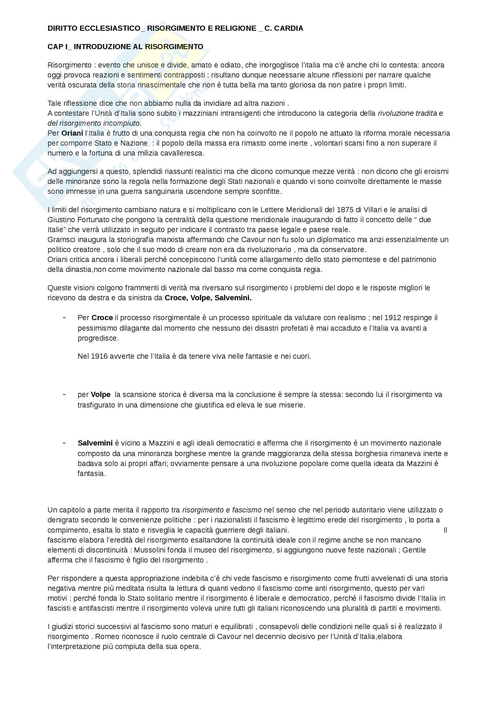 Riassunto esame diritto ecclesiastico, prof. Benigni, libro consigliato Risorgimento e religione, Cardia