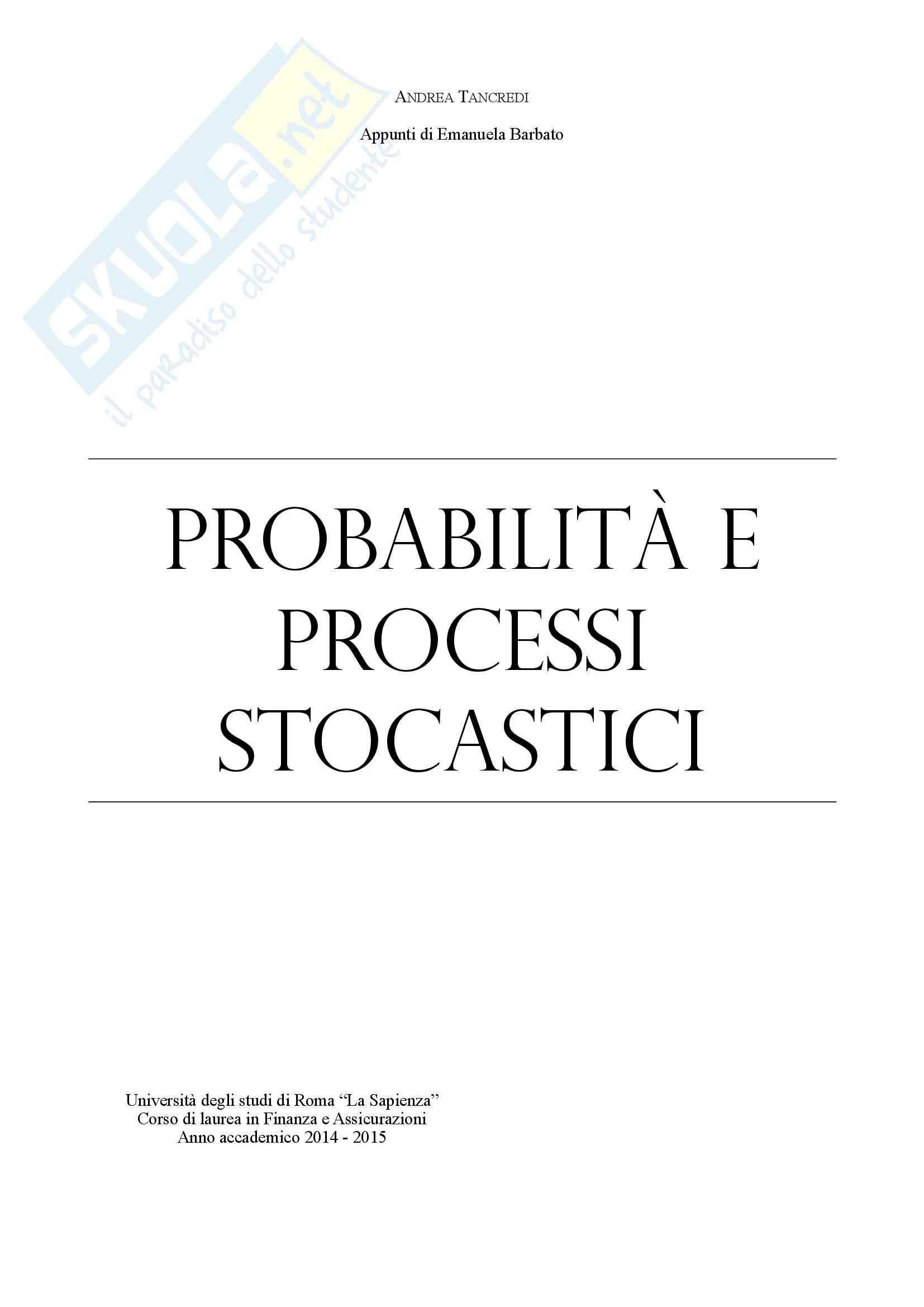 Probabilità e processi stocastici