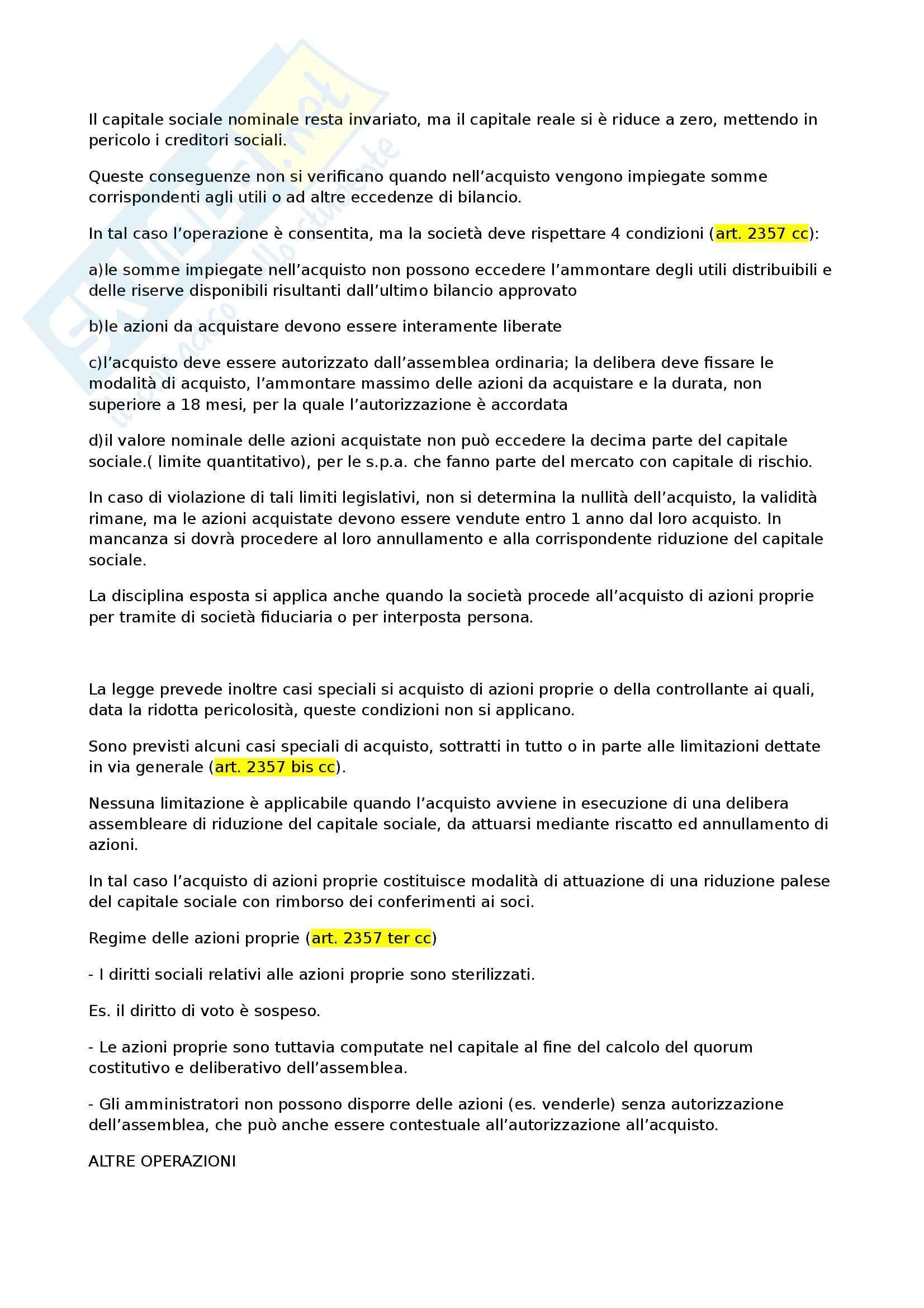 Diritto commerciale - le operazioni della società sulle proprie azioni Pag. 2