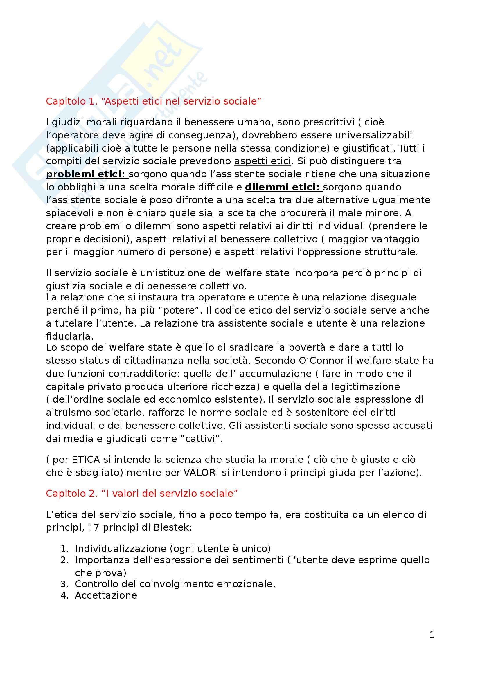 Riassunto esame Principi e fondamenti del servizio sociale, prof. Fasciolo, libro consigliato Etica e valori nel servizio sociale, Banks