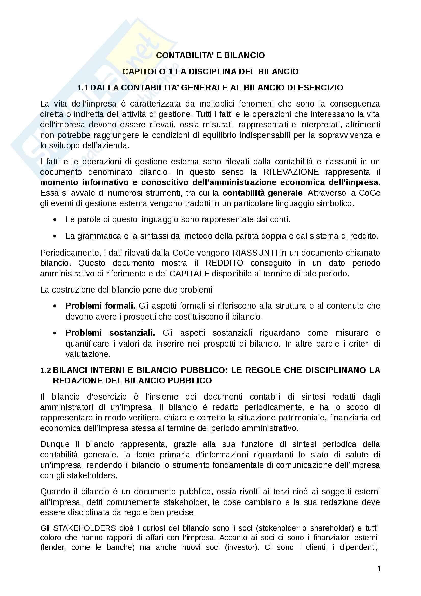 Riassunto esame Contabilità e bilancio, prof. Lepore, libro consigliato Il Bilancio, Giunta , Pisani
