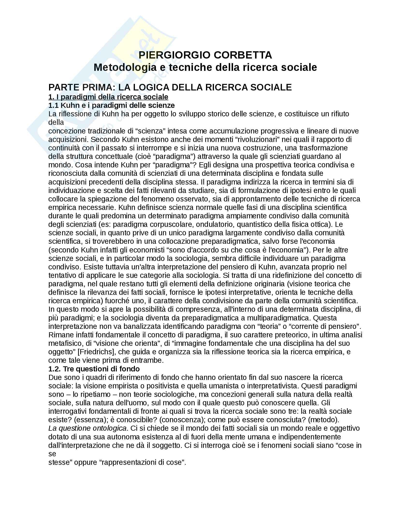 Riassunto esame Metodologia e Tecniche della Ricerca Sociale, prof. Scamuzzi, libro consigliato Metodologia e tecniche della ricerca sociale, Corbetta
