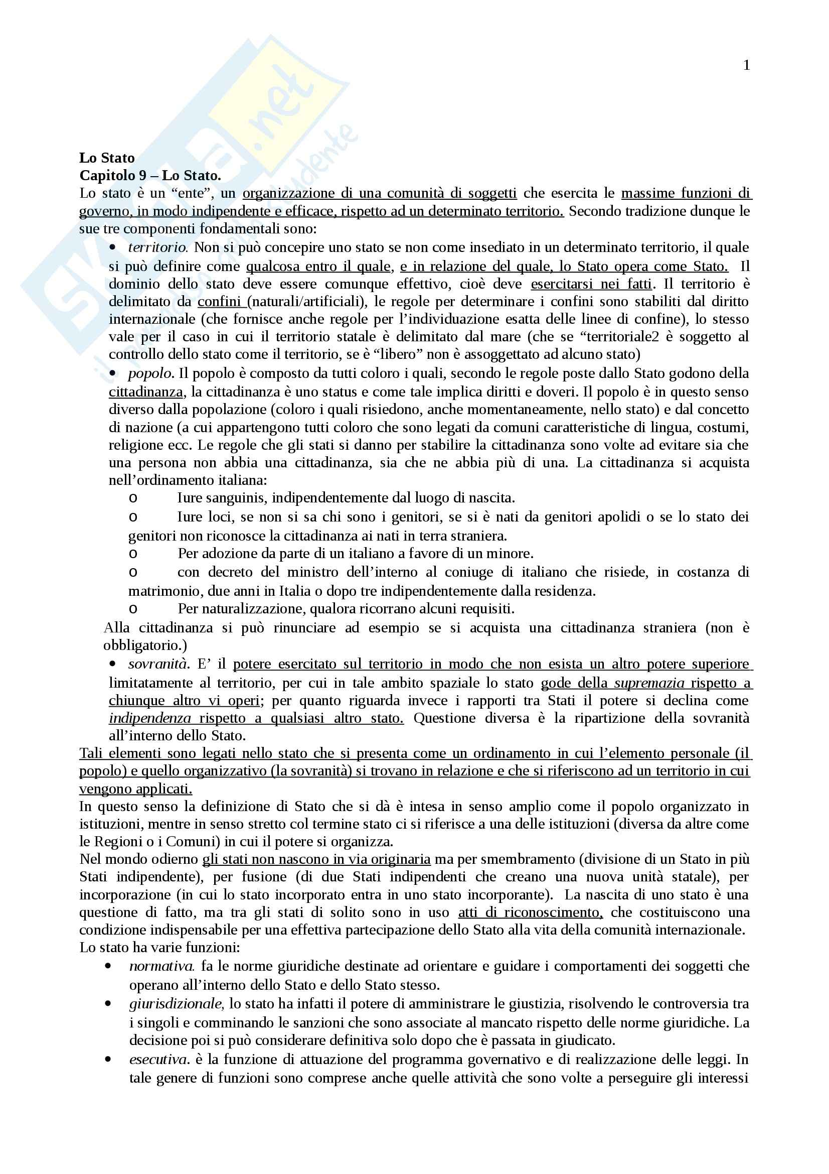 Riassunto esame Istituzioni di diritto pubblico, prof. Cortese, libro consigliato Lineamenti di diritto pubblico, Falcon