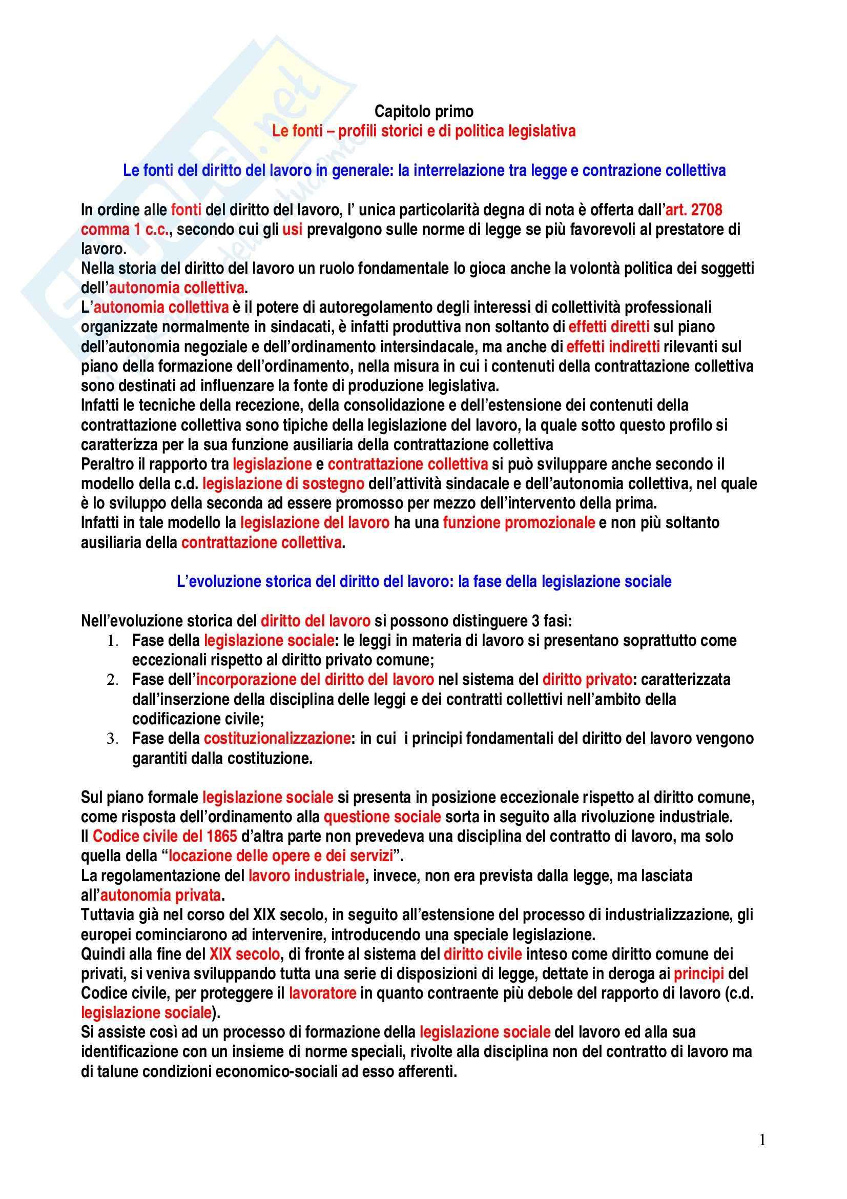 Riassunto esame Diritto del Lavoro, prof. Caruso, libro consigliato Diritto del Lavoro, Carinci