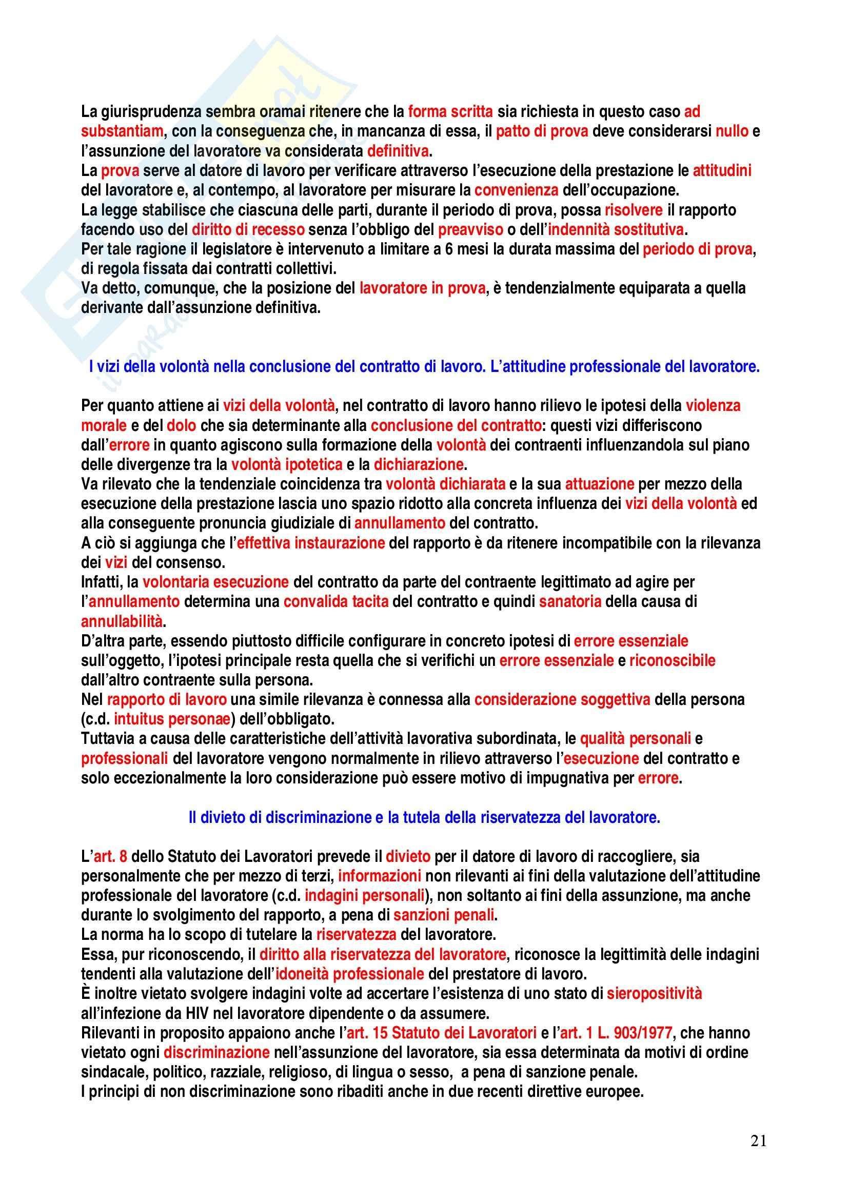 Riassunto esame Diritto del Lavoro, prof. Caruso, libro consigliato Diritto del Lavoro, Carinci Pag. 21