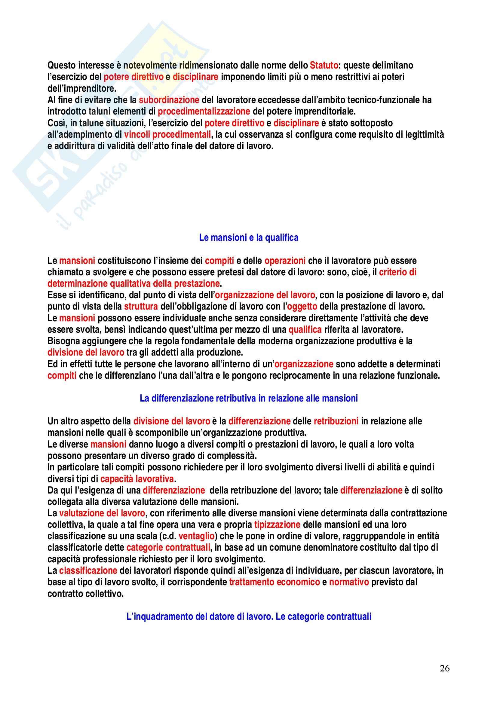 Riassunto esame Diritto del Lavoro, prof. Caruso, libro consigliato Diritto del Lavoro, Carinci Pag. 26