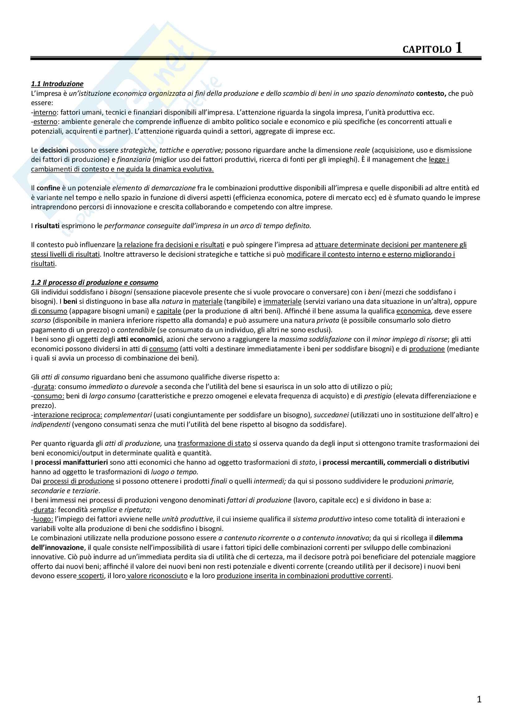 Riassunto esame Economia e Gestione d'impresa, prof Gatti, libro consigliato Impresa e fondamenti