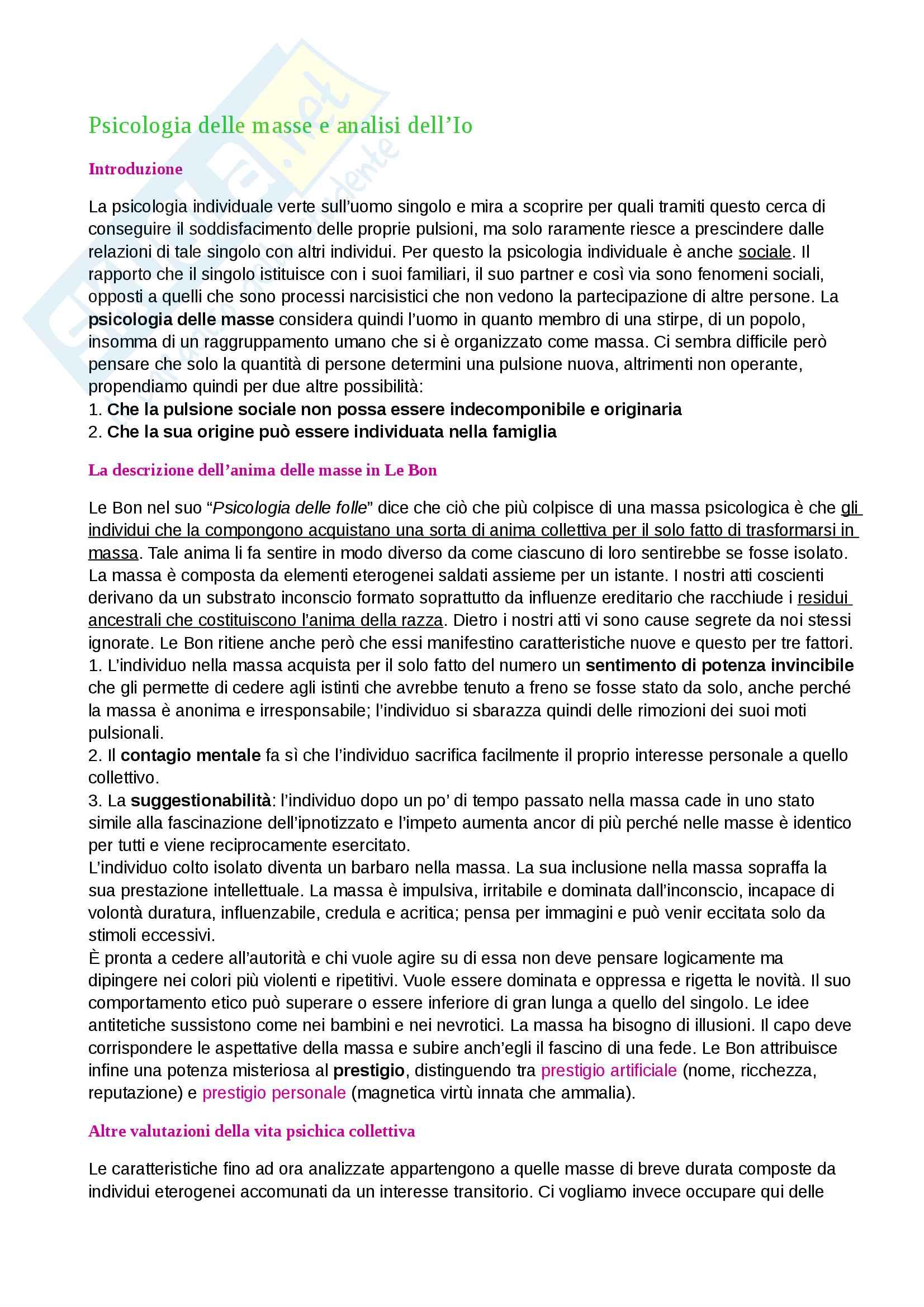 Riassunto esame Psicoanalisi, prof. De Rosa, libro consigliato: Psicologia delle masse e analisi dell'Io