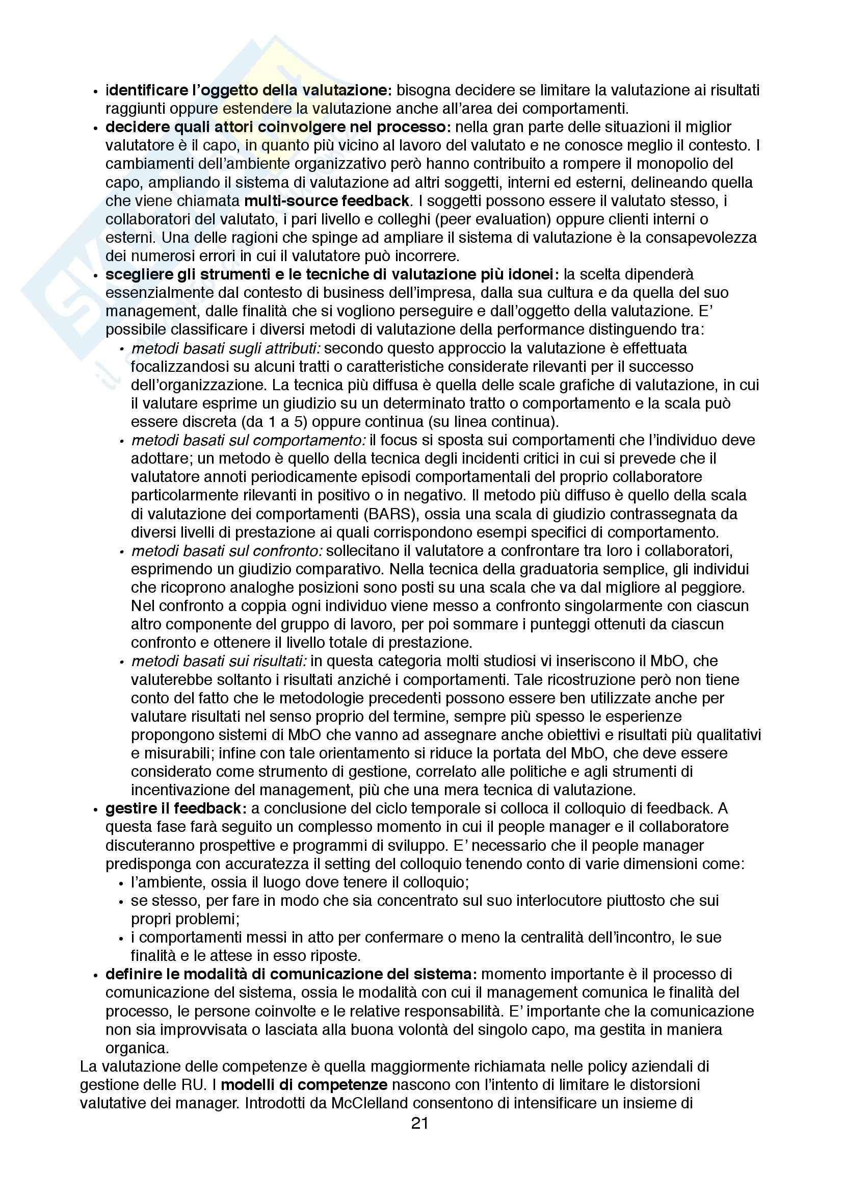 Lezioni: Appunti di Organizzazione delle Risorse Umane Pag. 21