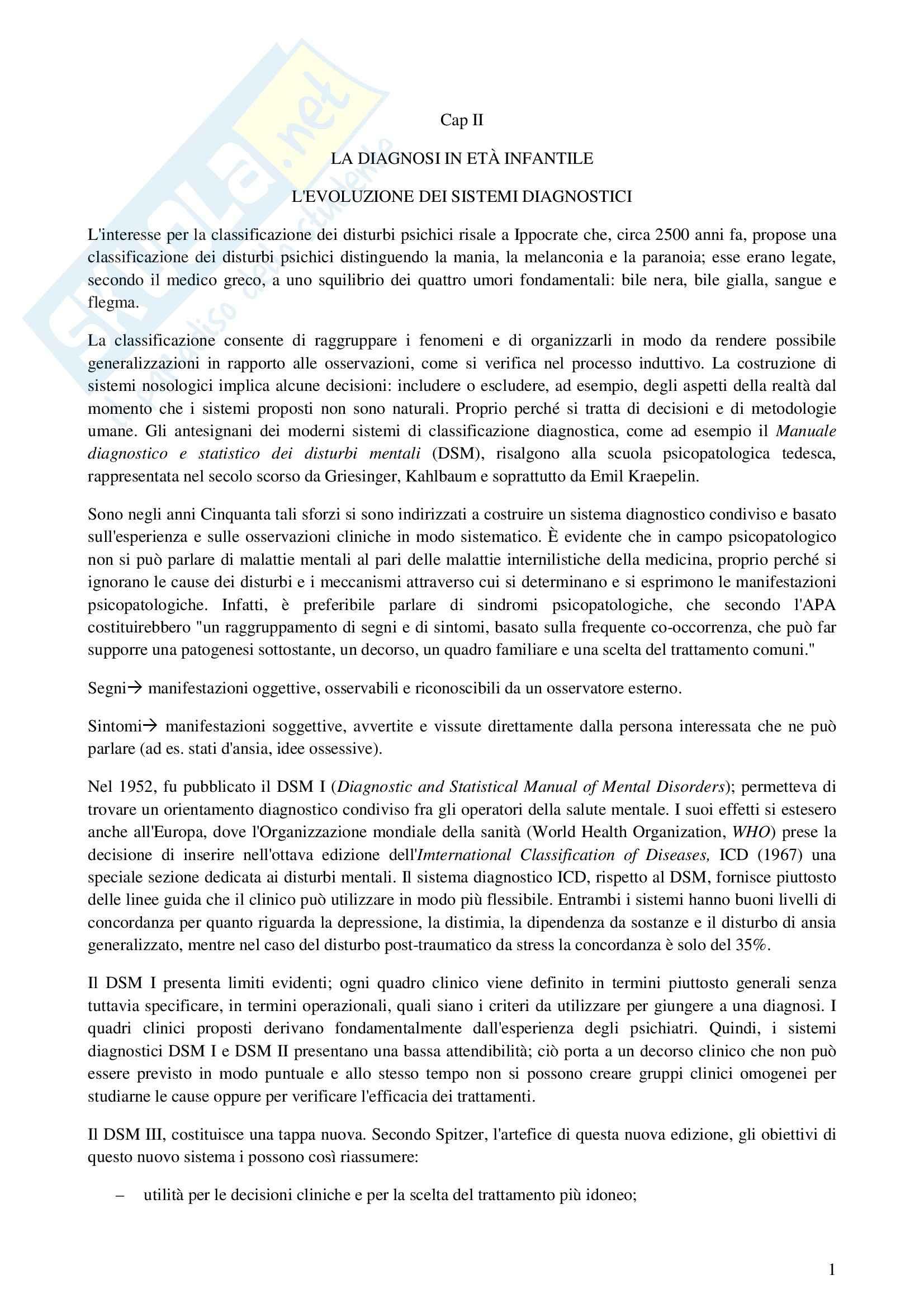 Riassunto esame Psicologia Clinica dello Sviluppo, prof. Chianura, libro consigliato Manuale di Psicopatologia dell'infanzia, Ammaniti