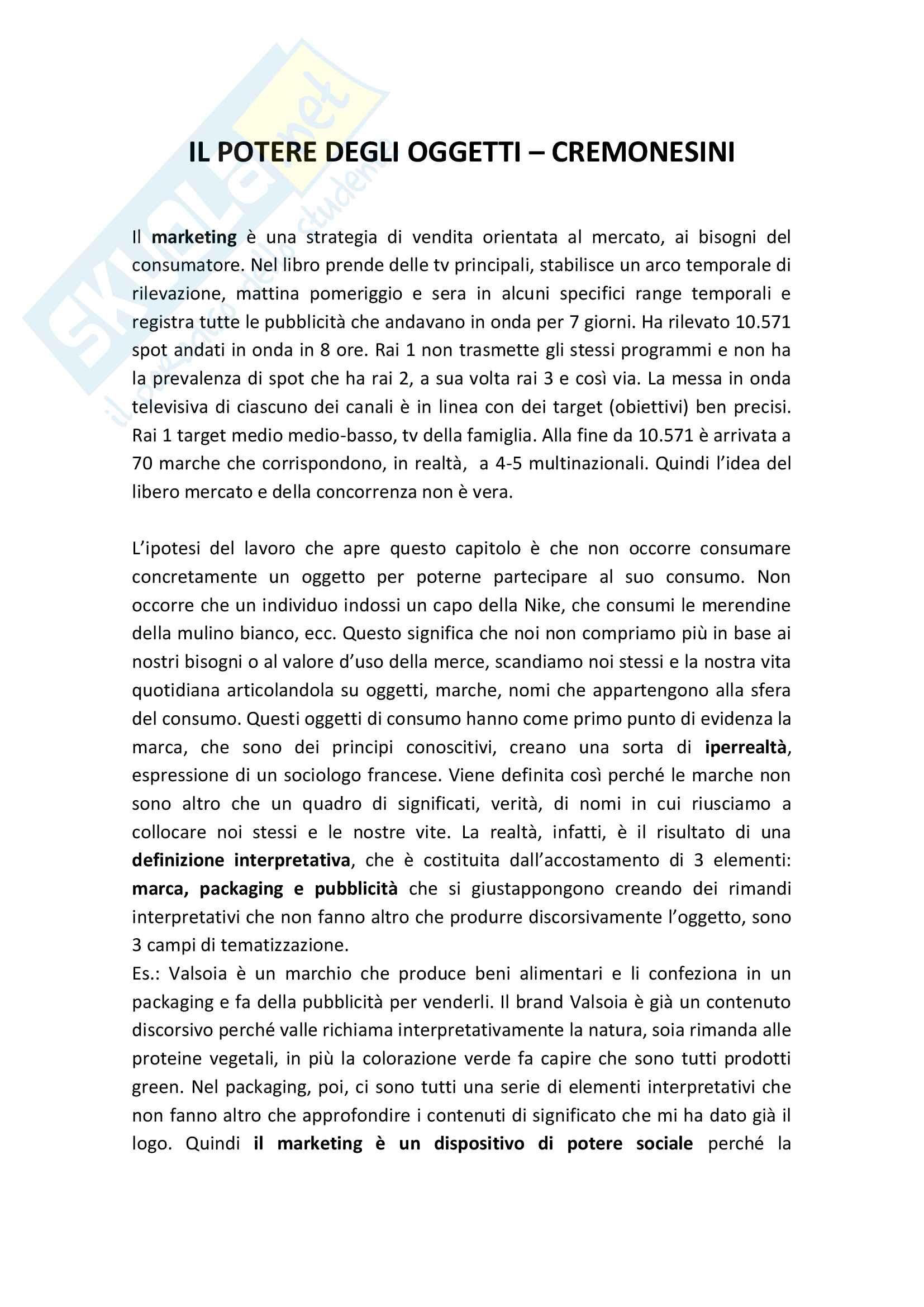 Riassunto esame Sociologia Generale, prof. Cremonesini, libro consigliato Il potere degli oggetti, Valentina Cremonesini