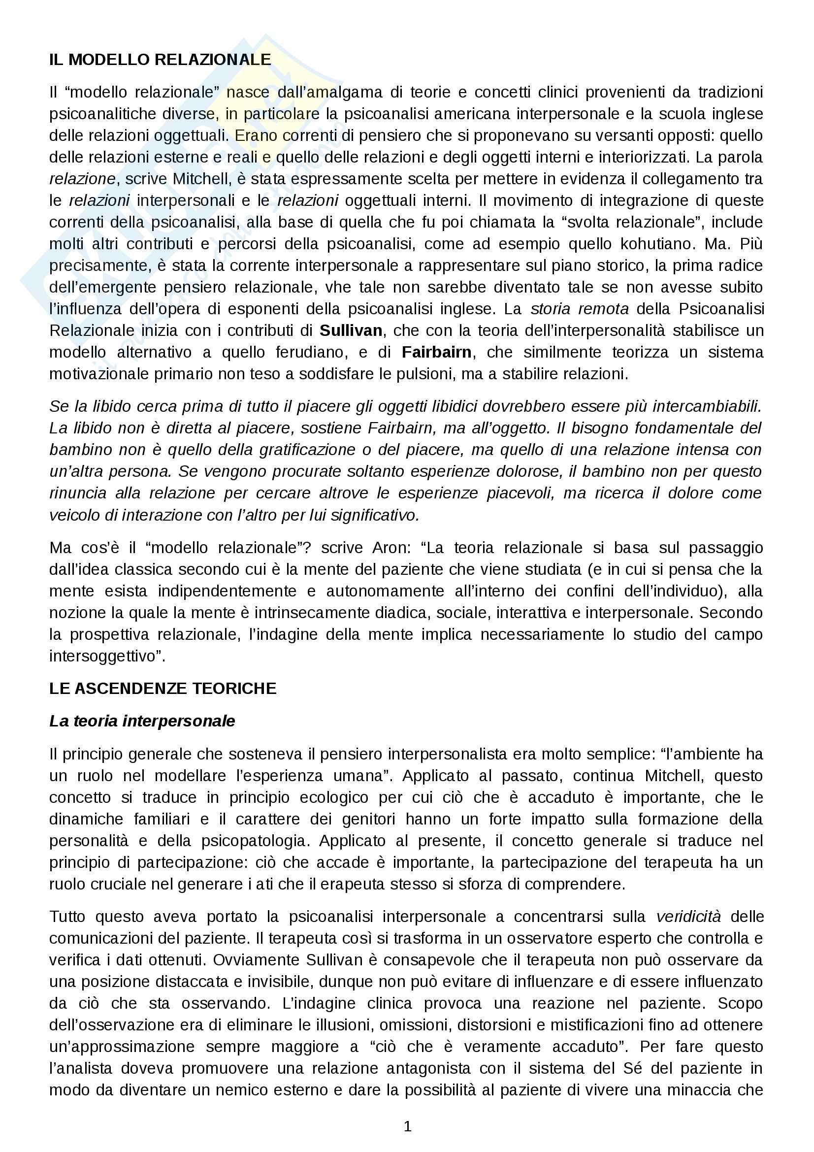 Riassunto esame psicodinamica del setting, prof. Giannone, libro consigliato La svolta relazionale