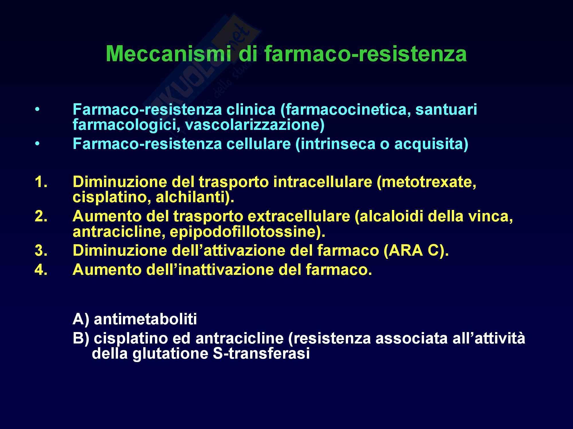 Oncologia Clinica - Meccanismi di Farmaco-Resistenza