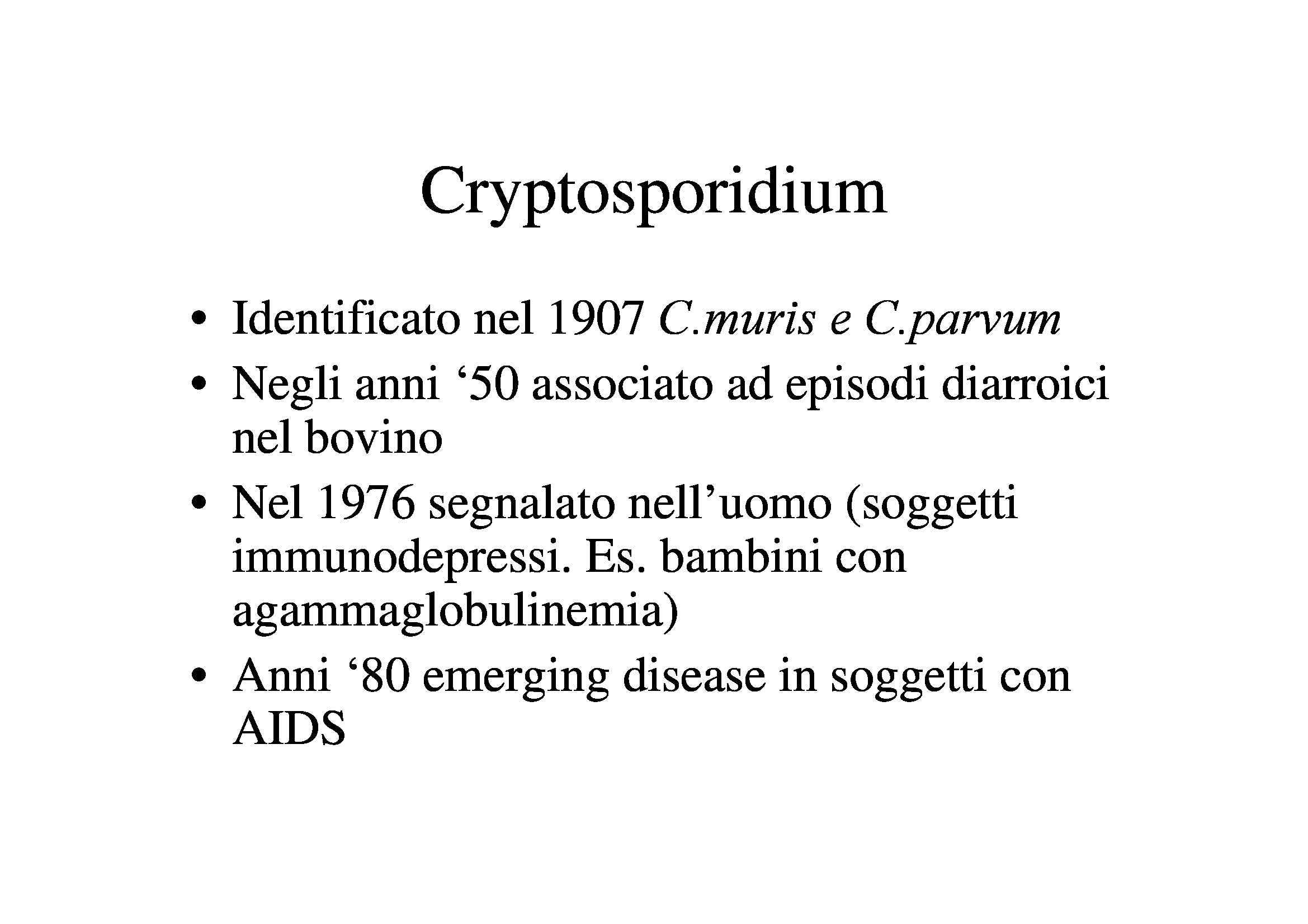Cryptosporidium, Giarda e Trypanosoma
