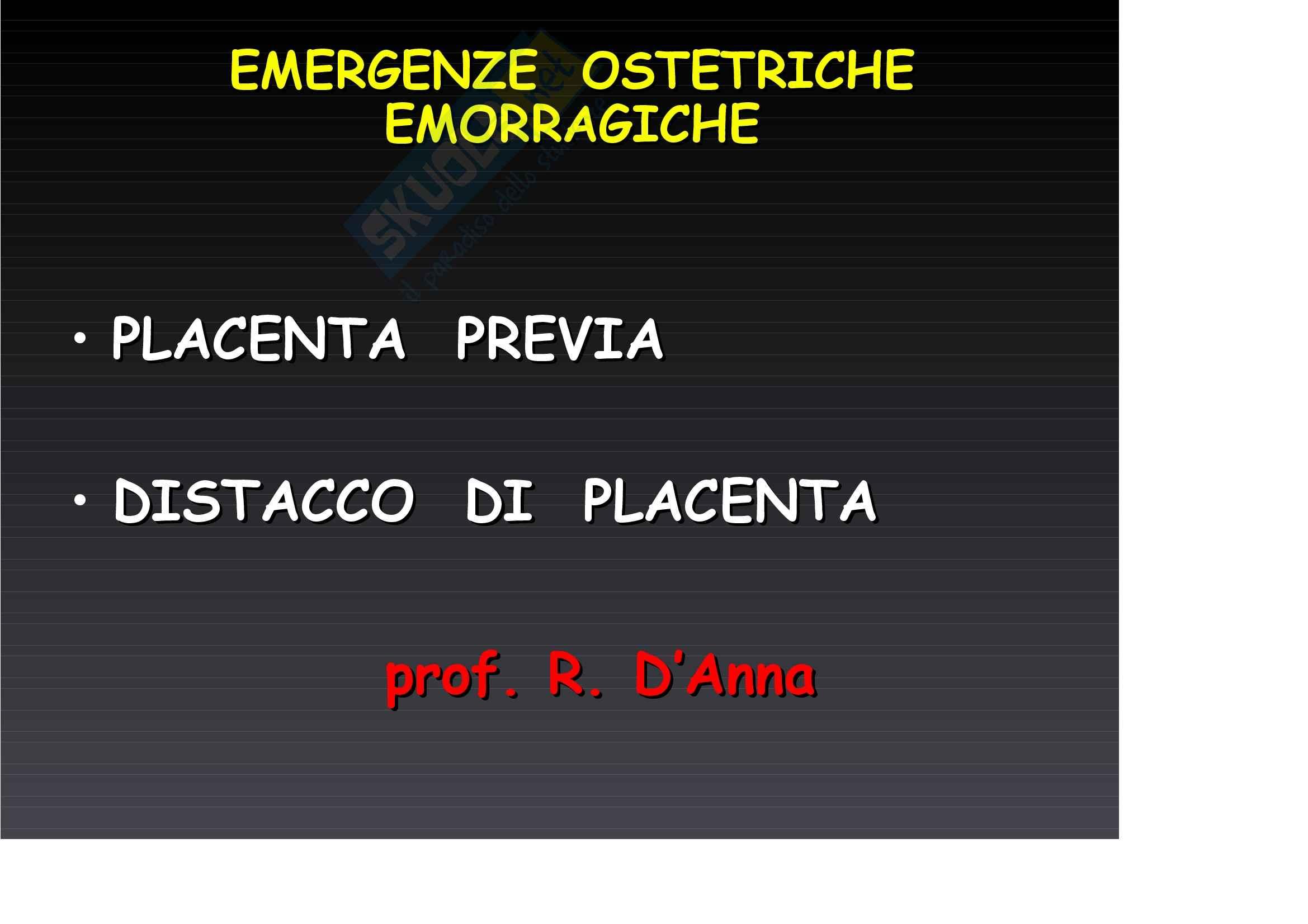 Ginecologia e ostetricia - Placenta Previa