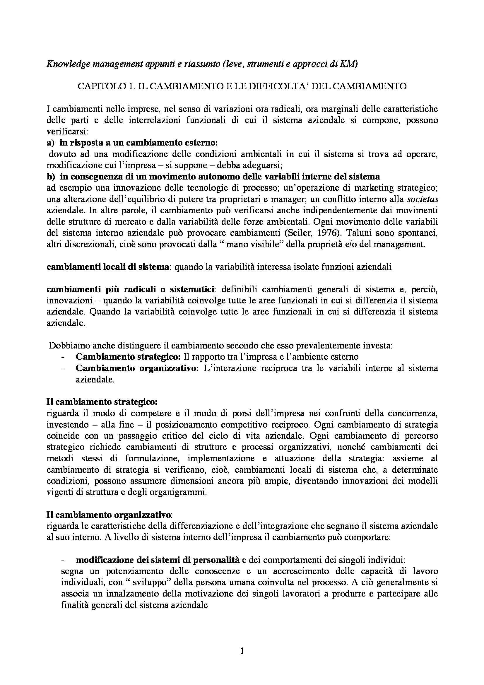 Knowledge Management: Riassunto esame, Appunti e Schemi, prof. Paniccia