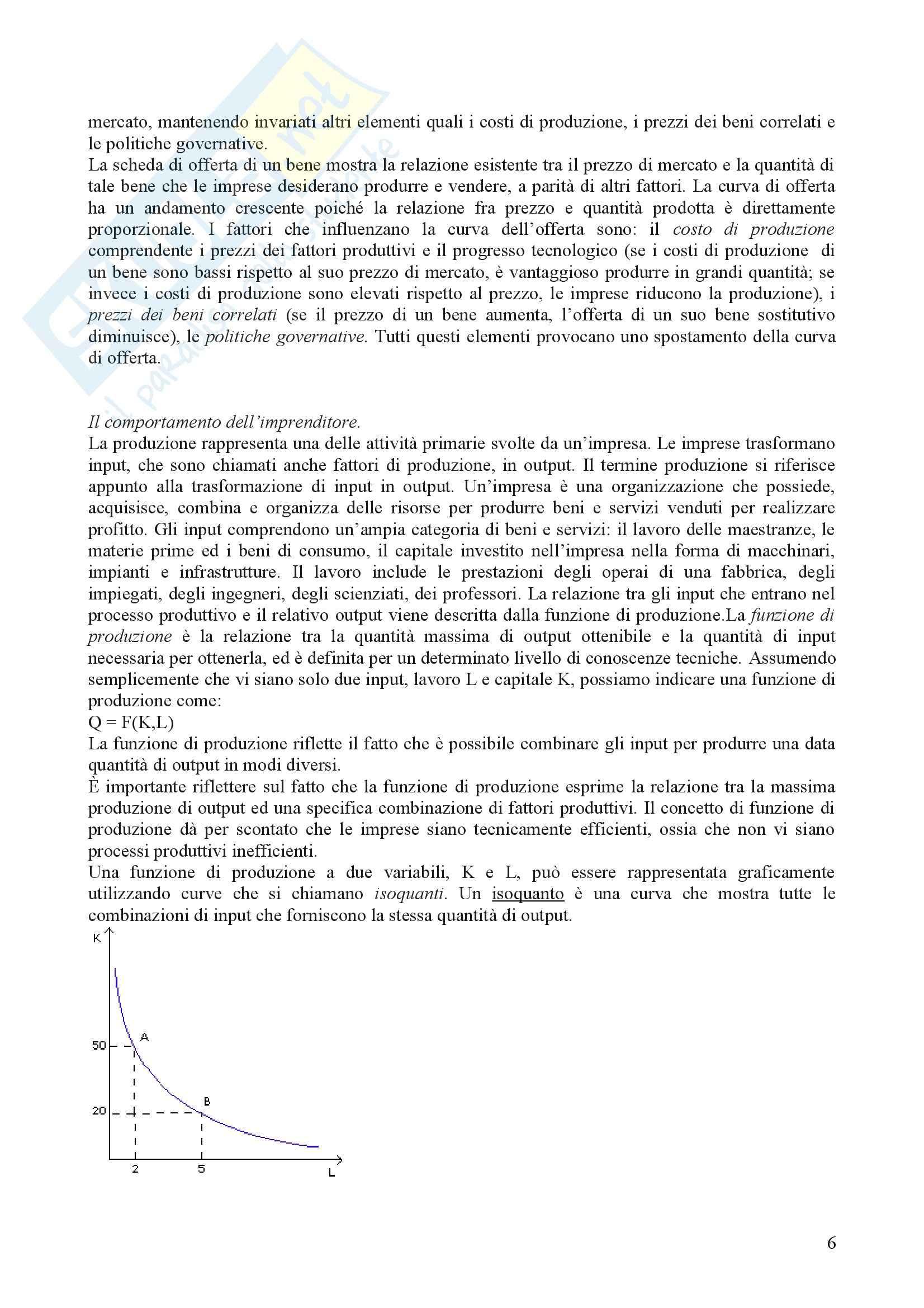 Economia - comportamento razionale dei consumatori e delle imprese Pag. 6