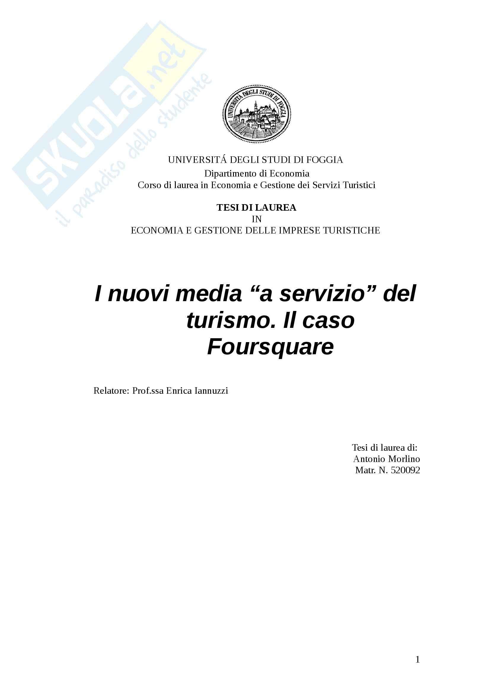 tesi E. Iannuzzi Economia e gestione delle imprese turistiche