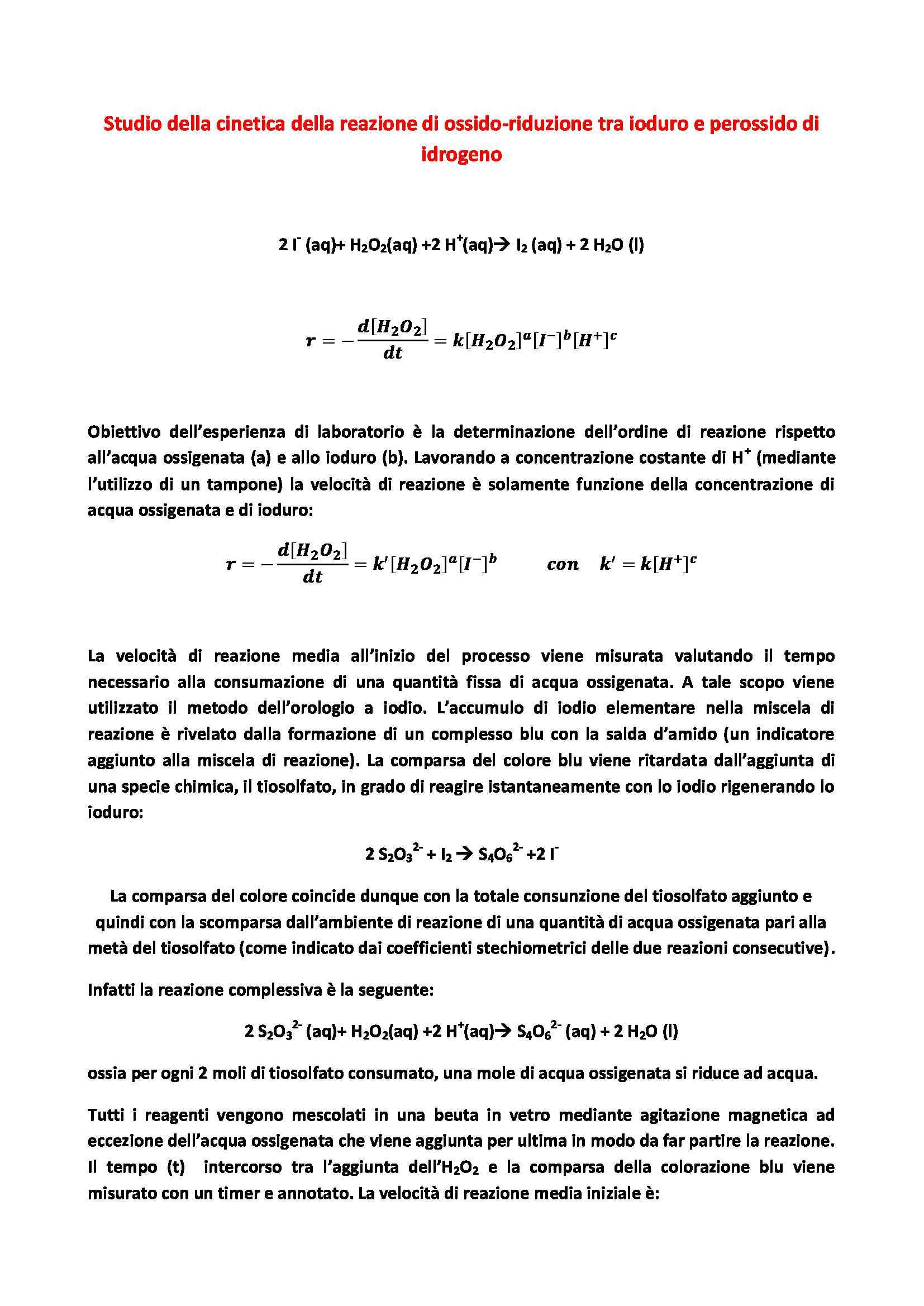 Applicazione del metodo dell'orologio a iodio e delle velocità iniziali