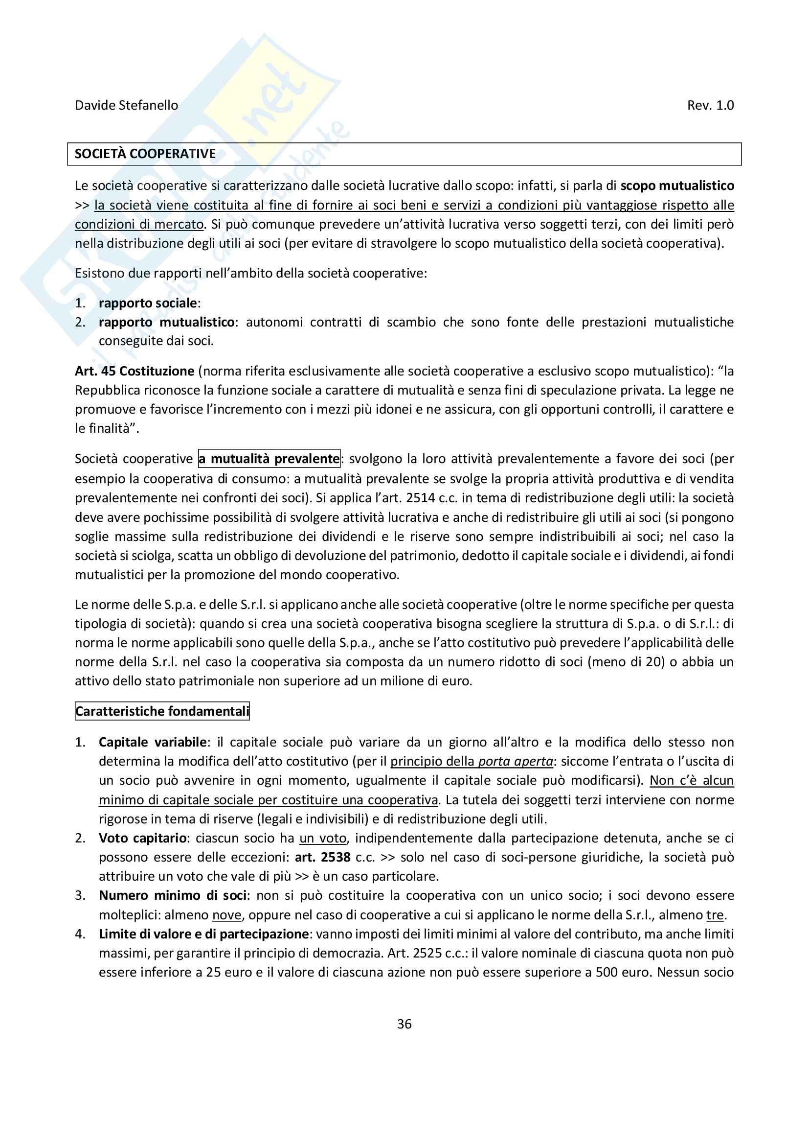 Diritto delle società di capitali - Appunti di diritto commerciale Pag. 36