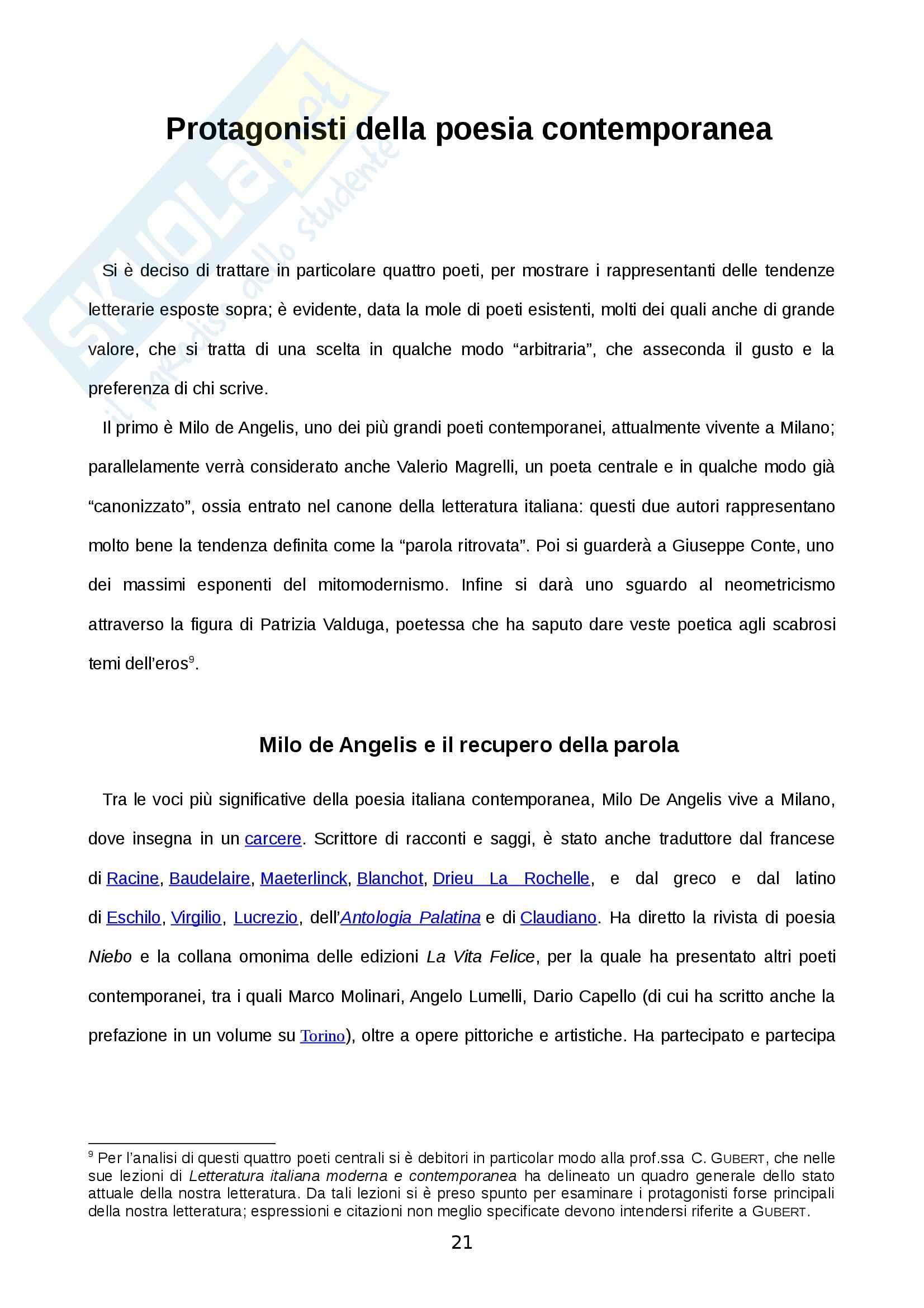 Scorcio di letteratura italiana dagli anni Ottanta ad oggi - Tesi Pag. 21