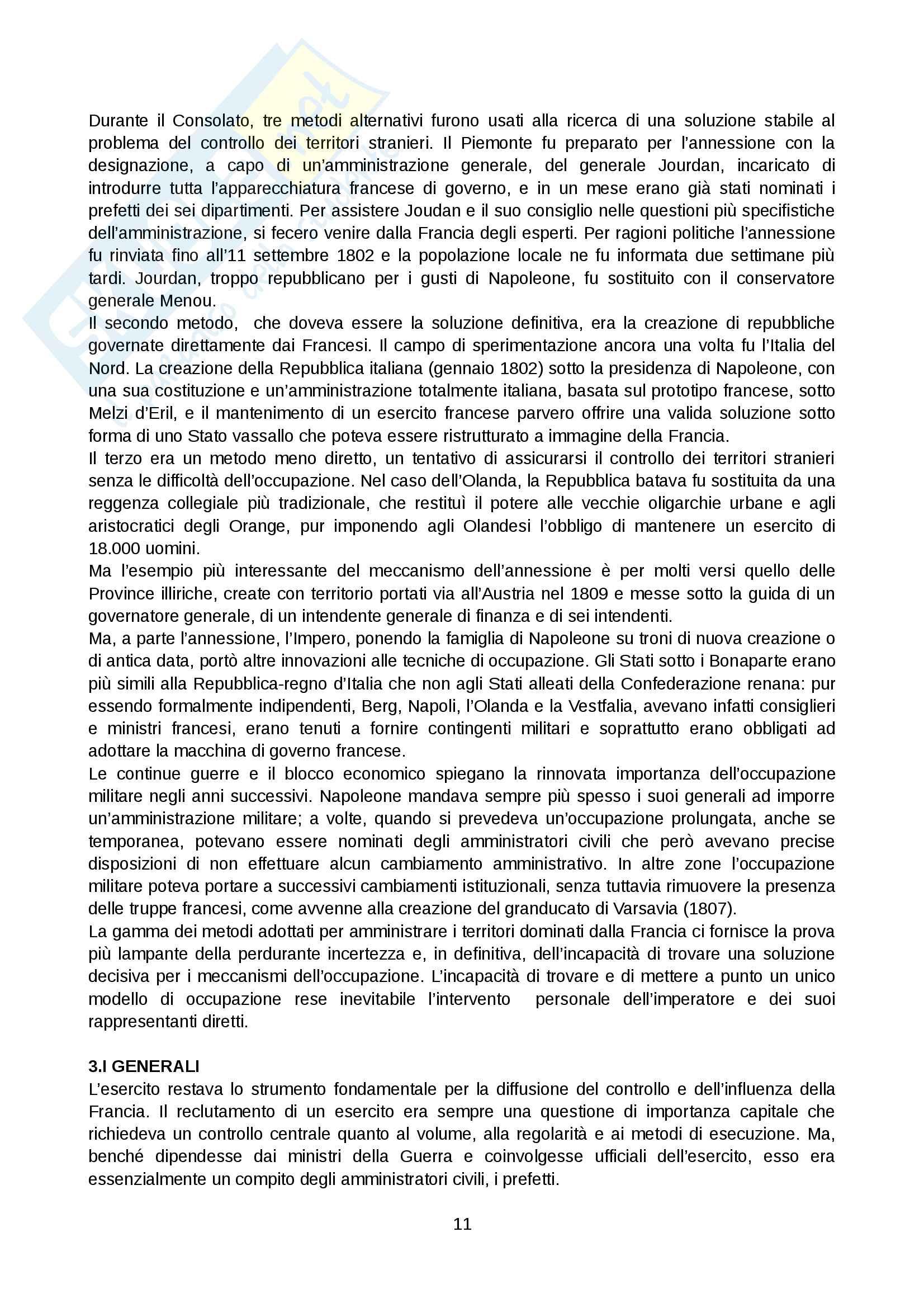 Riassunto esame Storia Moderna, prof. Levati, libro consigliato: Napoleone e la conquista dell Europa - Stuart J. Woolf Pag. 11