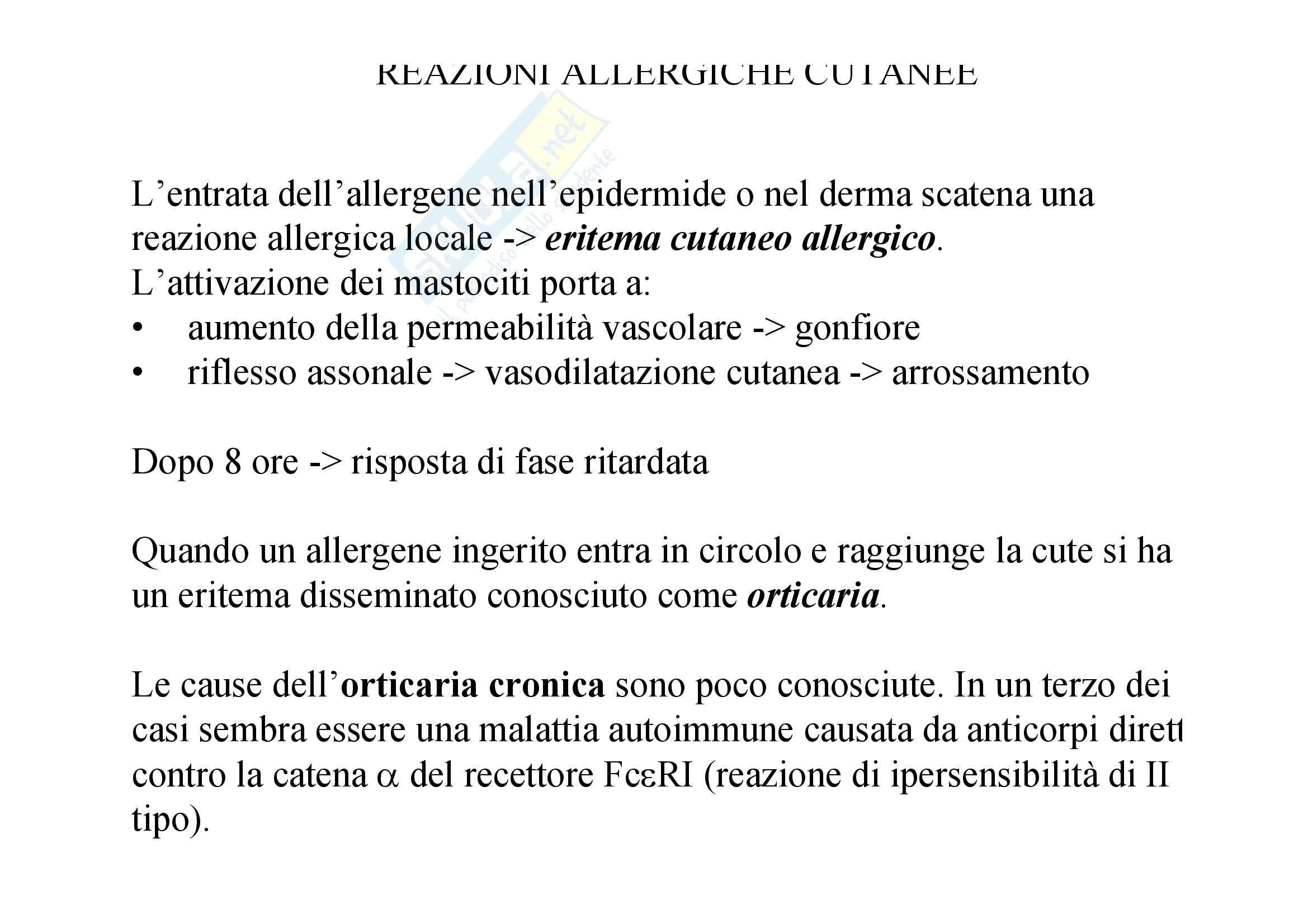 Immunologia - allergie cutanee