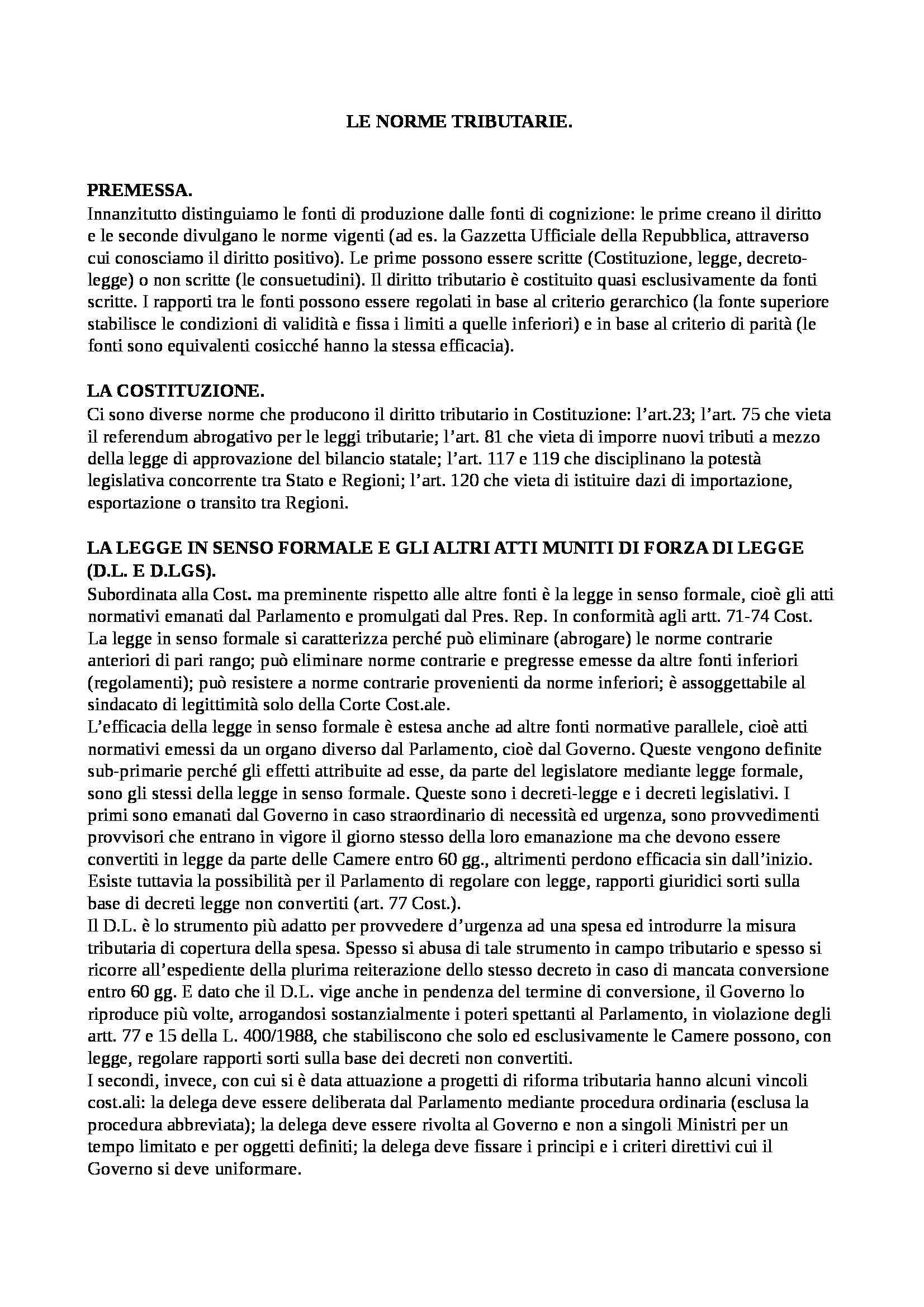 Riassunto esame Diritto tributario, prof. Perrone, libro consigliato Falsitta