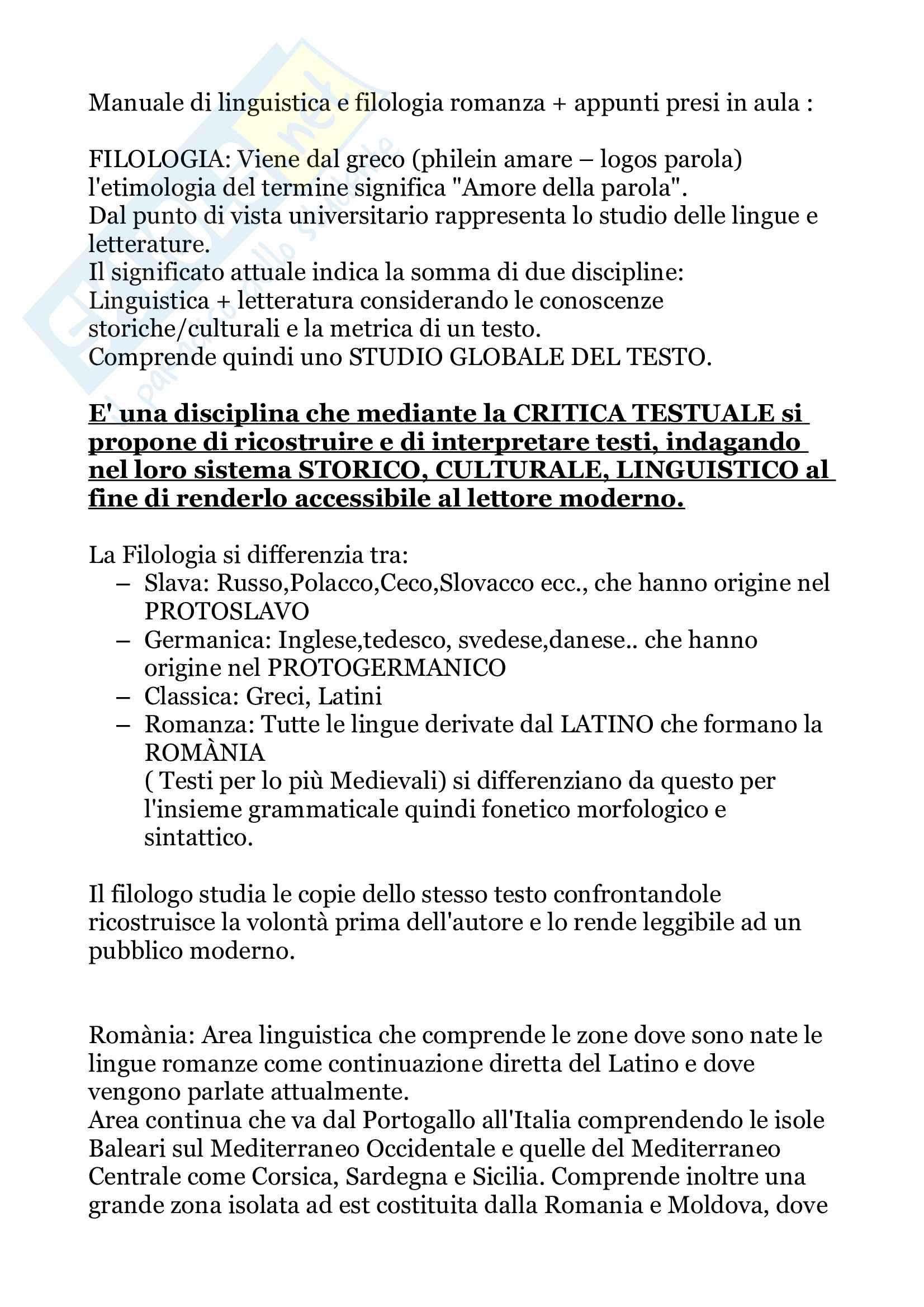 Filologia Romanza - Riassunto modulo A, prof. Marinetti (dettagliato)