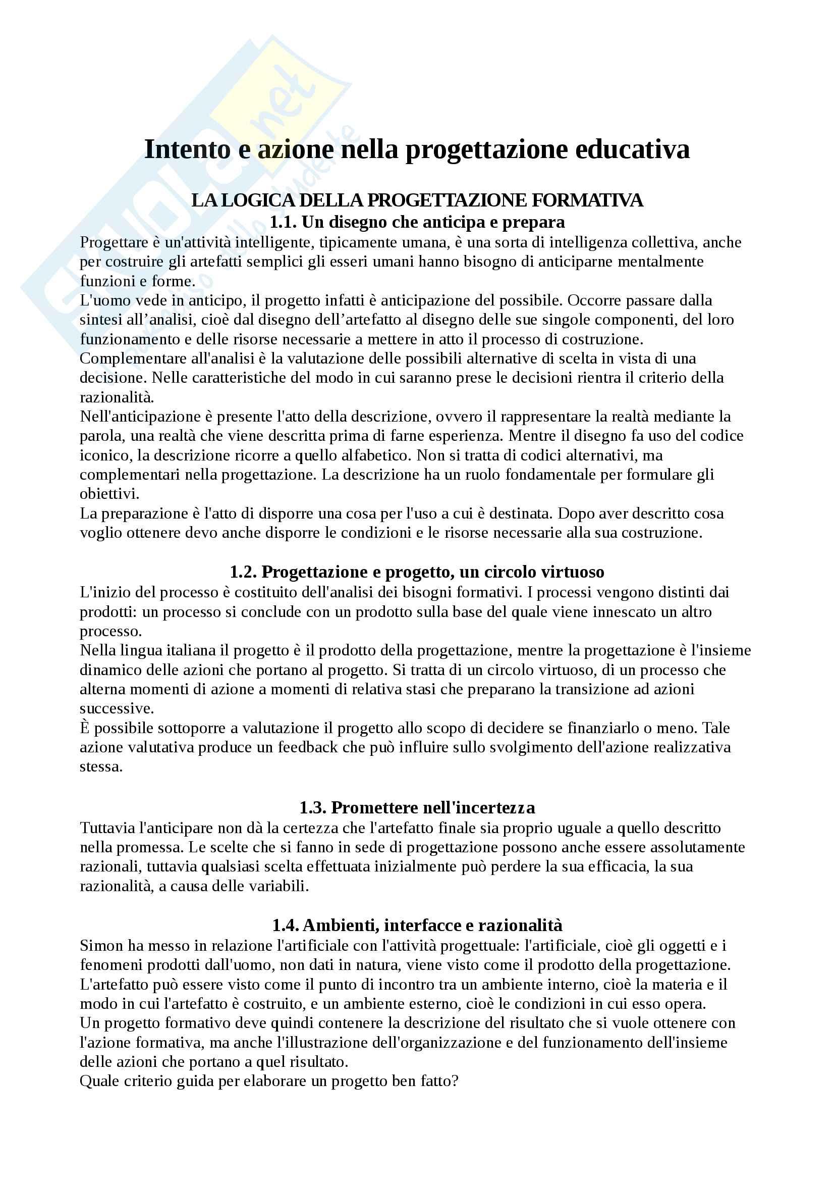 Riassunto esame progettazione nei contesti educativi e formativi, prof. Cecconi, libro consigliato Intento e azione nella progettazione educativa, Cecconi
