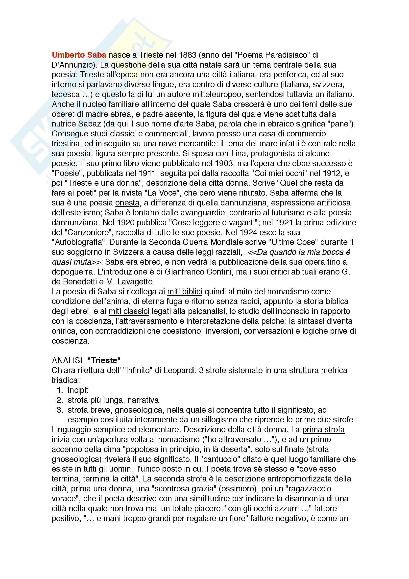 Saba, Letteratura italiana contemporanea