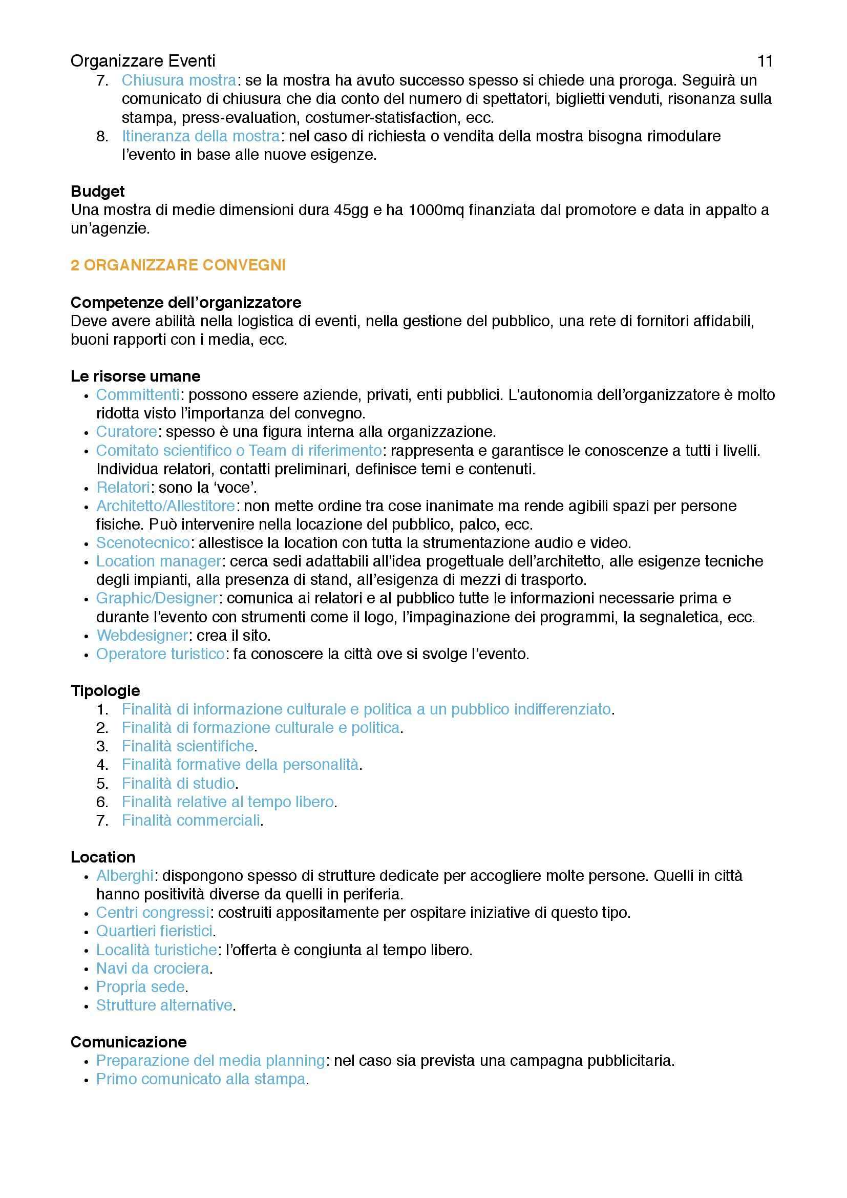 Riassunto esame Organizzazione Eventi dello Spettacolo, prof. Monno, libro consigliato Guida Pratica, Monno Pag. 11