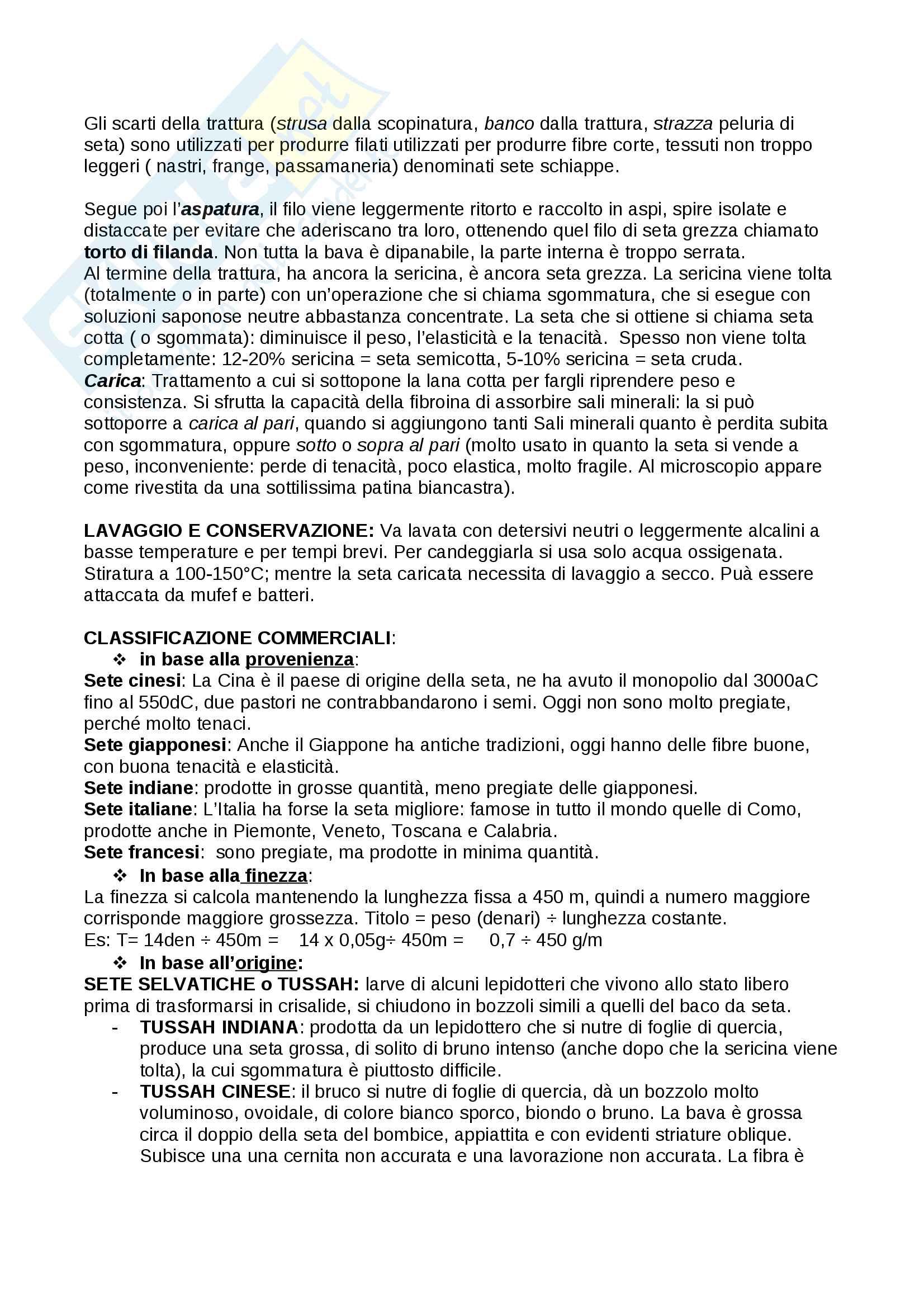 Riassunto chimica delle fibre tessili Pag. 6