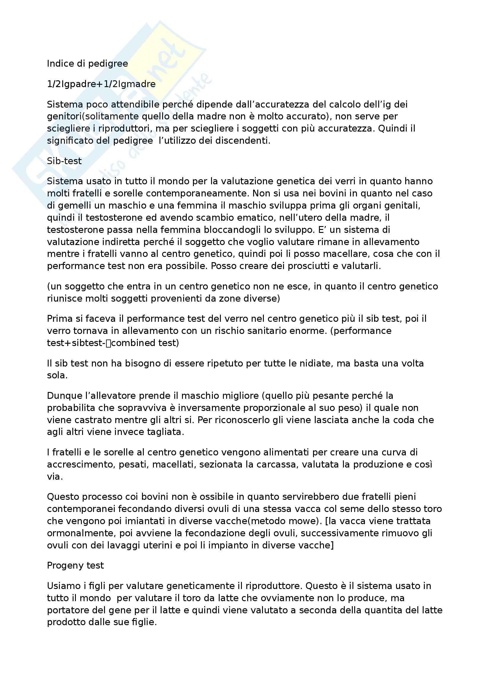 Zootecnica generale e miglioramento genetico - Dal pedigree all indice di selezione